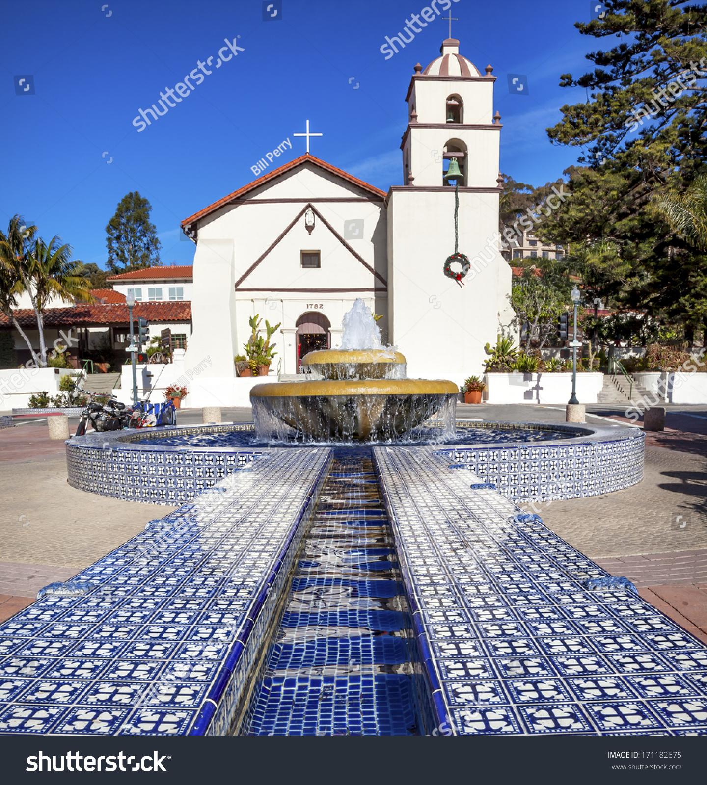 Mexican Tile Fountain Mission San Buenaventura Stock