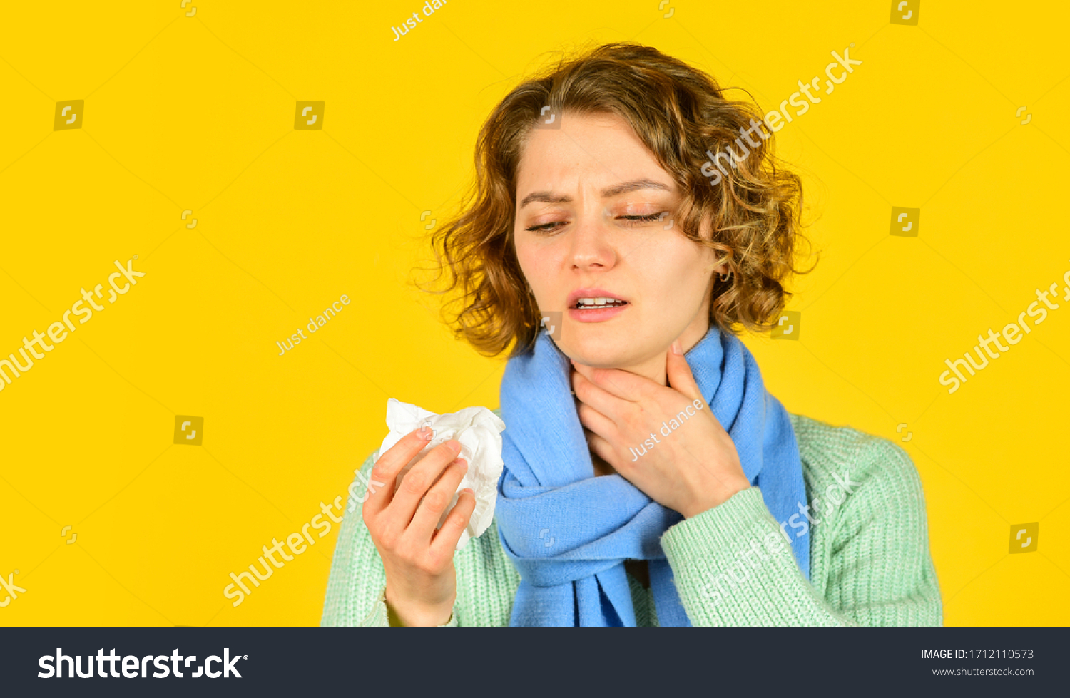 runny nose caused by illness. ill with laryngitis. Acute respiratory viral. sick girl with runny nose. influenza infection and pneumonia. Coronavirus outbreak concept. Symptoms of disease. copy space. #1712110573