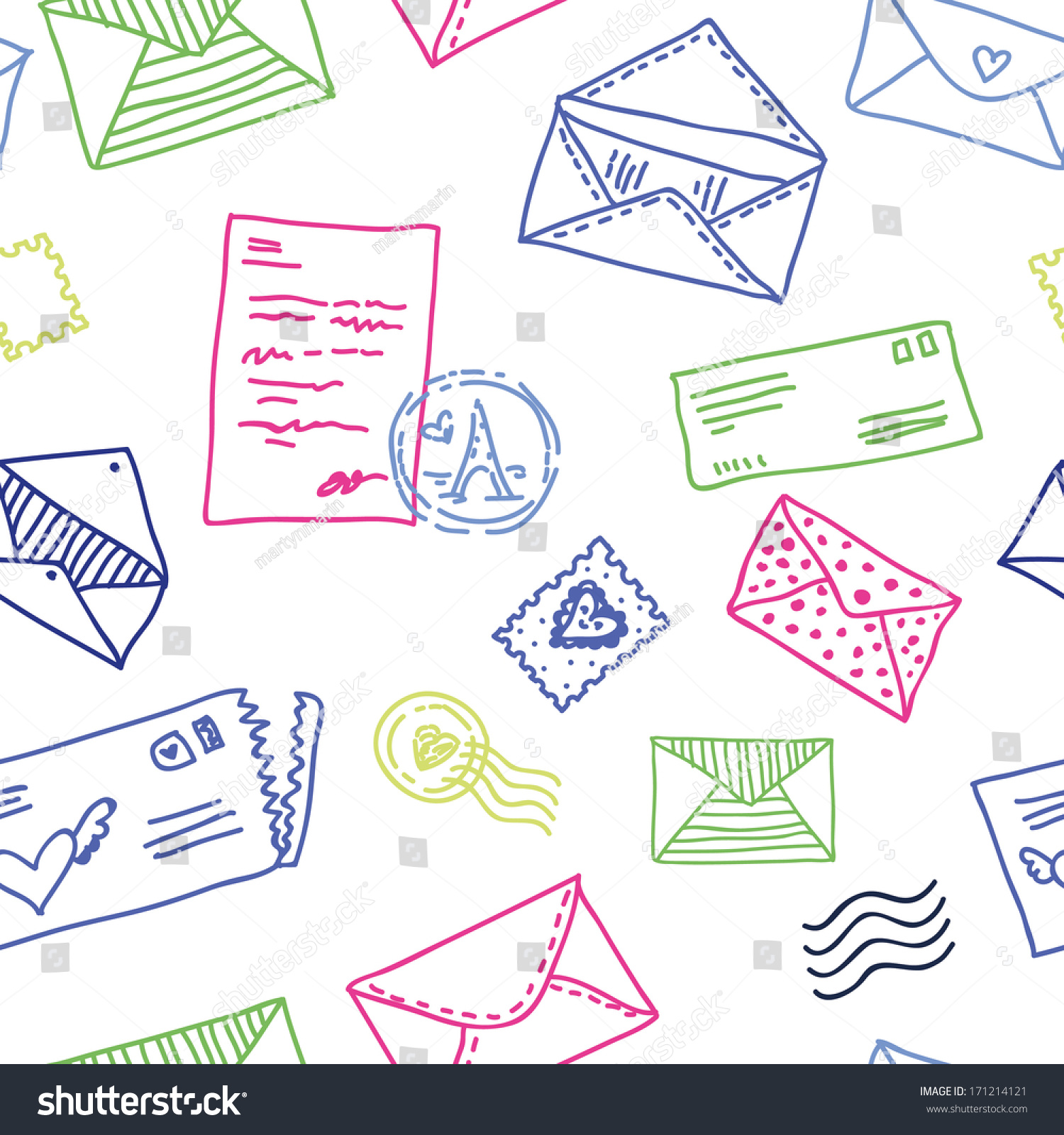 Seamless Pattern Vintage Mail Postal Letters Stock Vector