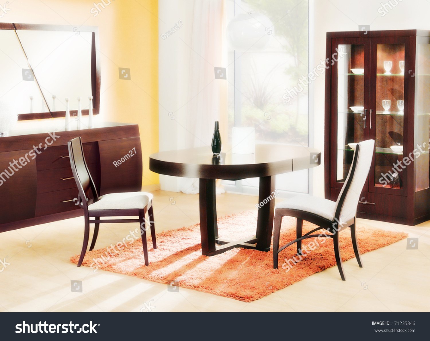 Dining Room Interior, Wooden Furniture, Dining Table, Chair Set, Garden  View,