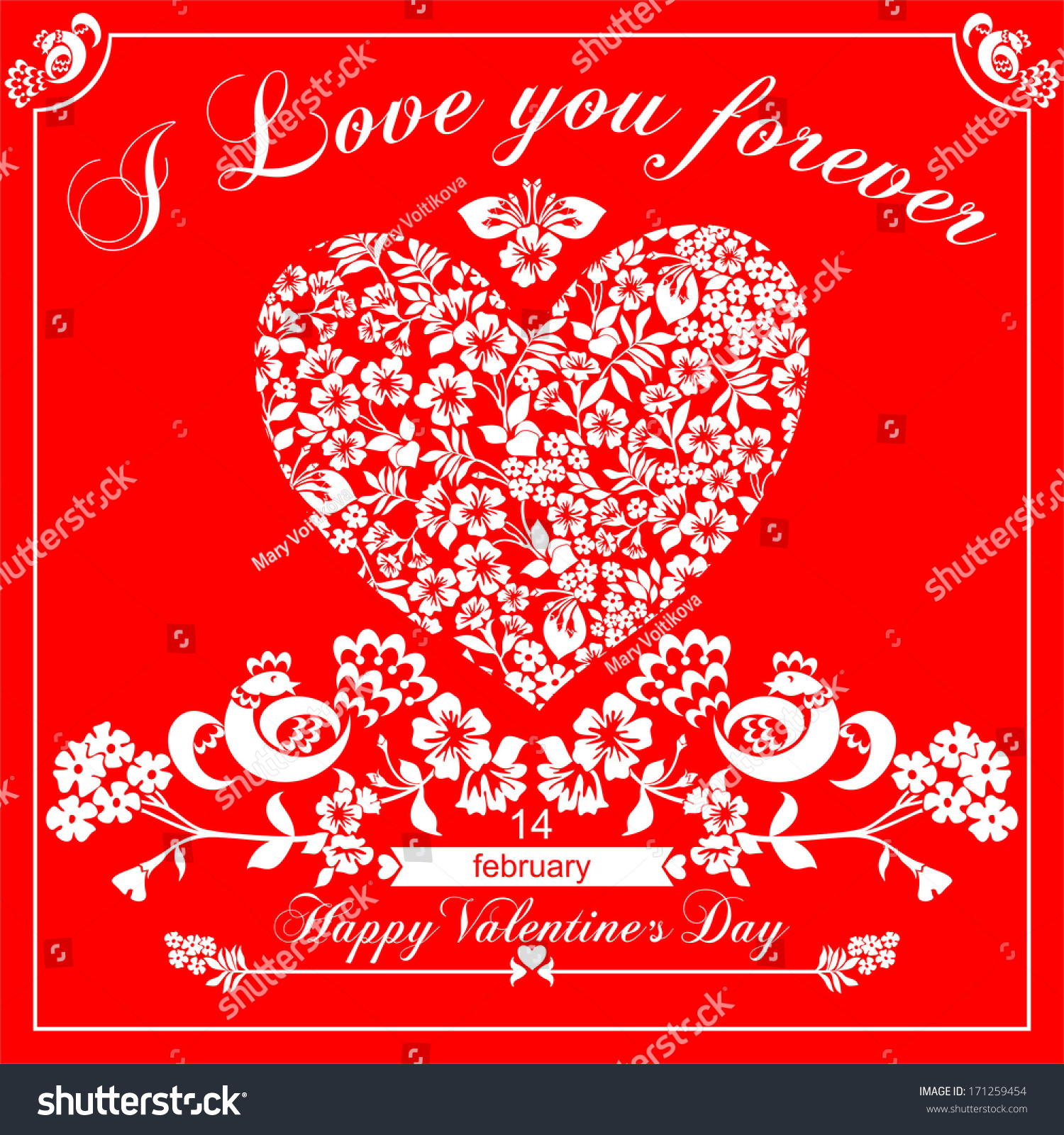 Happy Valentines Day Greeting Card On Red Background Raster