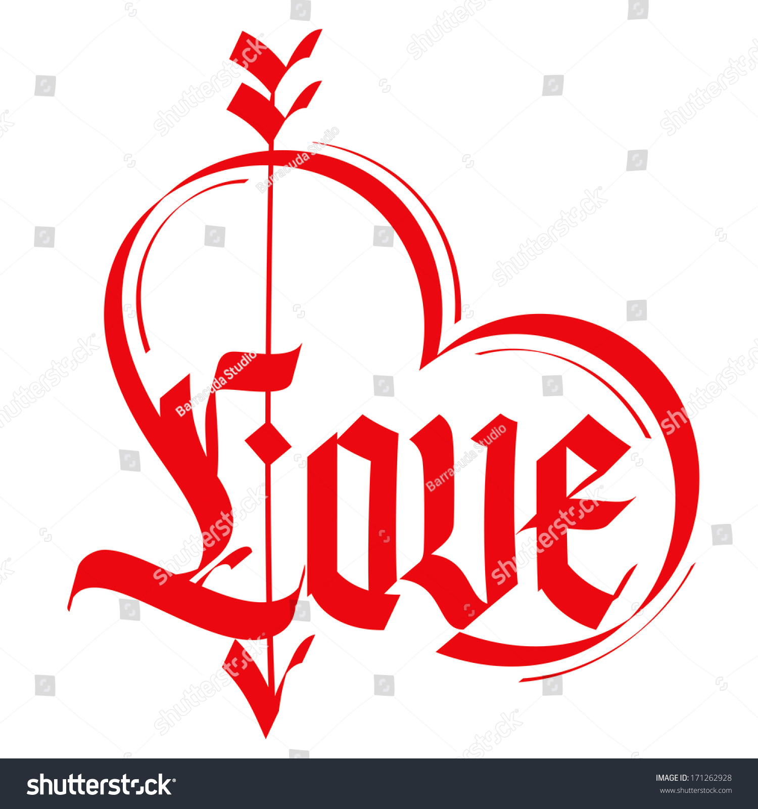 Love Typography Heart Typography Gothic Lettering Stock