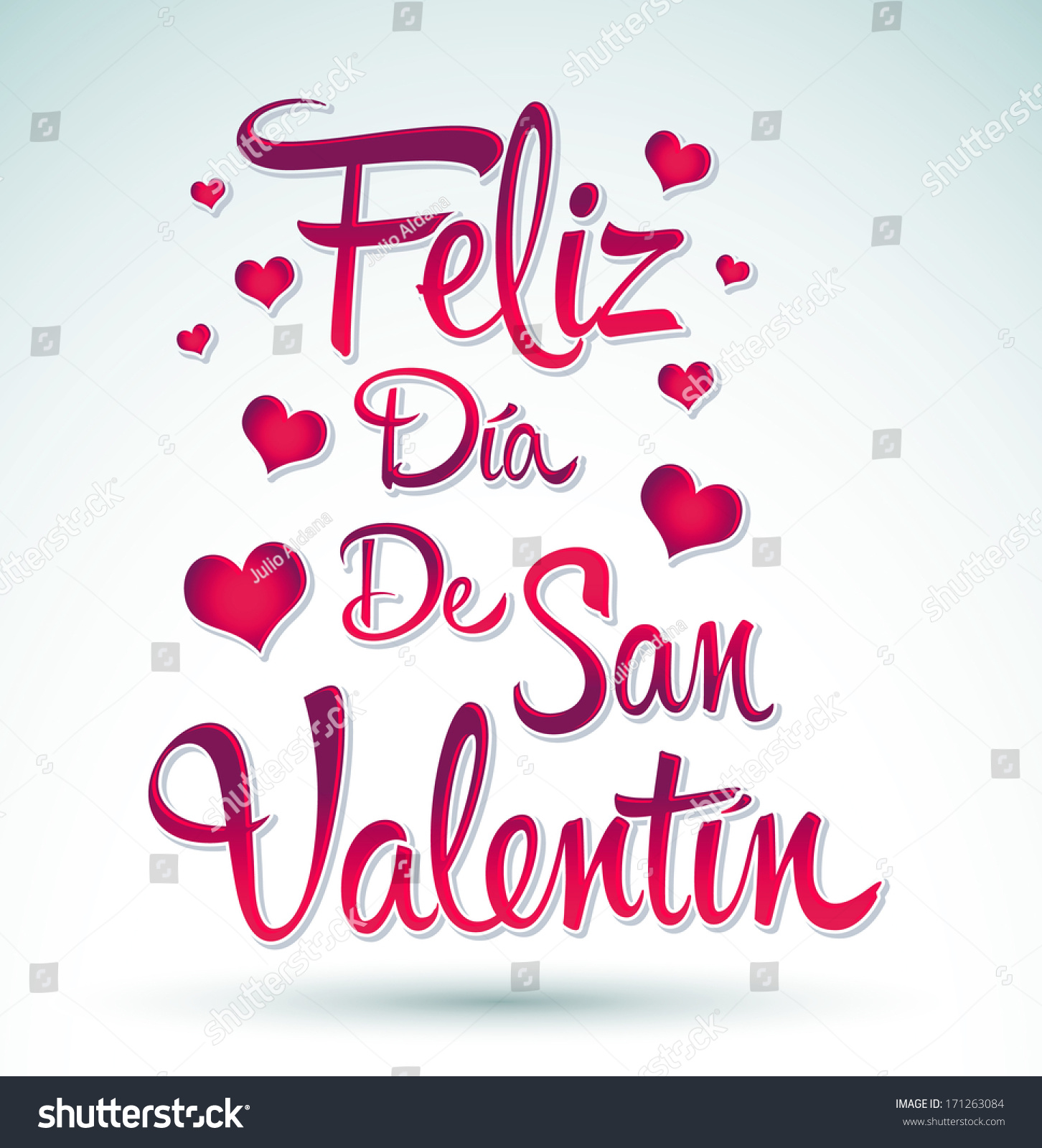 Feliz Dia De San Valentin   Happy Valentines Day Spanish Text   Vector  Lettering #171263084