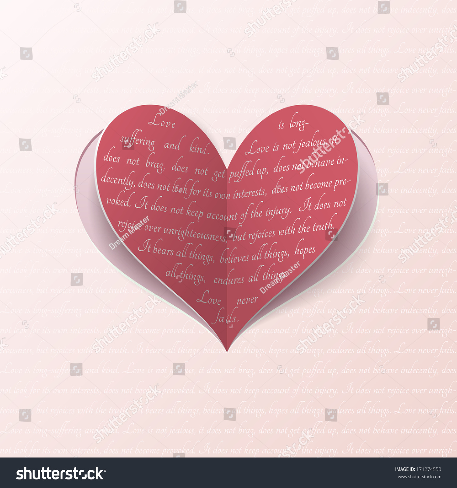 Cutout Paper Heart Quote Bible About Stock Illustration 171274550 ...