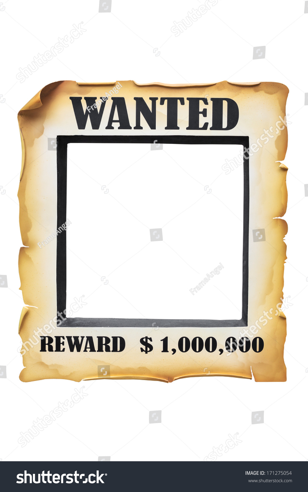 Wanted Poster Paper Blank On White Stock Photo (Edit Now) 171275054 ...