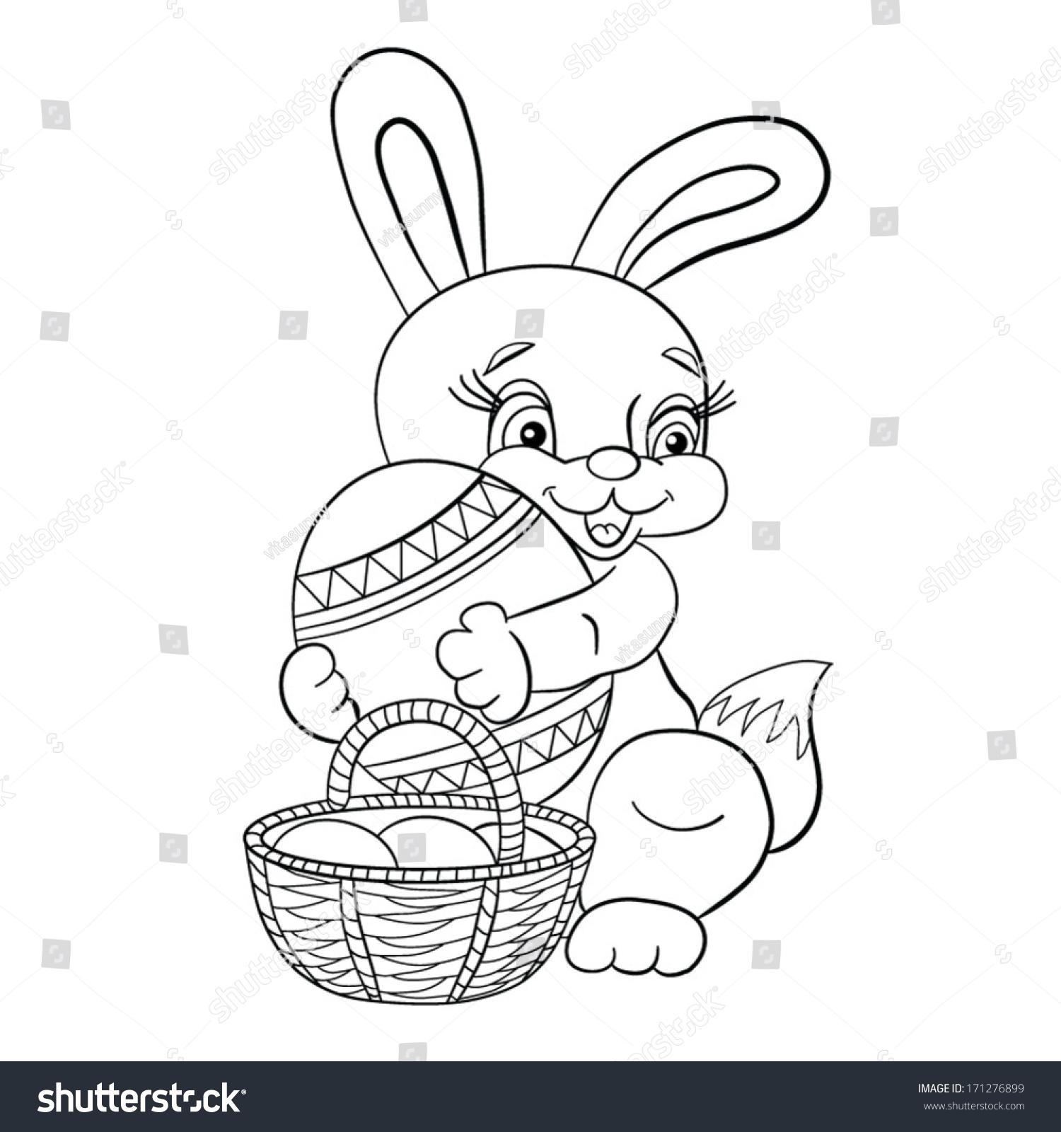 Contour Blackwhite Cartoon Merry Little Easter Stock Vector (Royalty ...