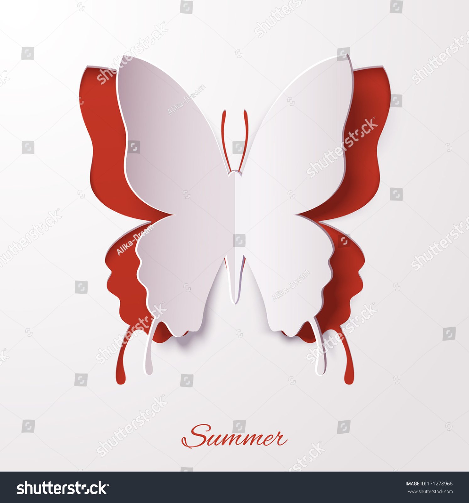 Vector white paper butterfly on red stock vector 171278966 for White paper butterflies