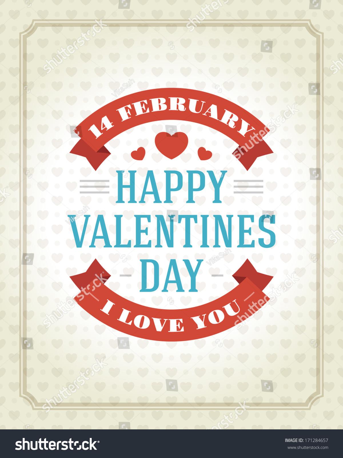 Happy Valentines Day Message Vintage Retro Stock Vector Royalty