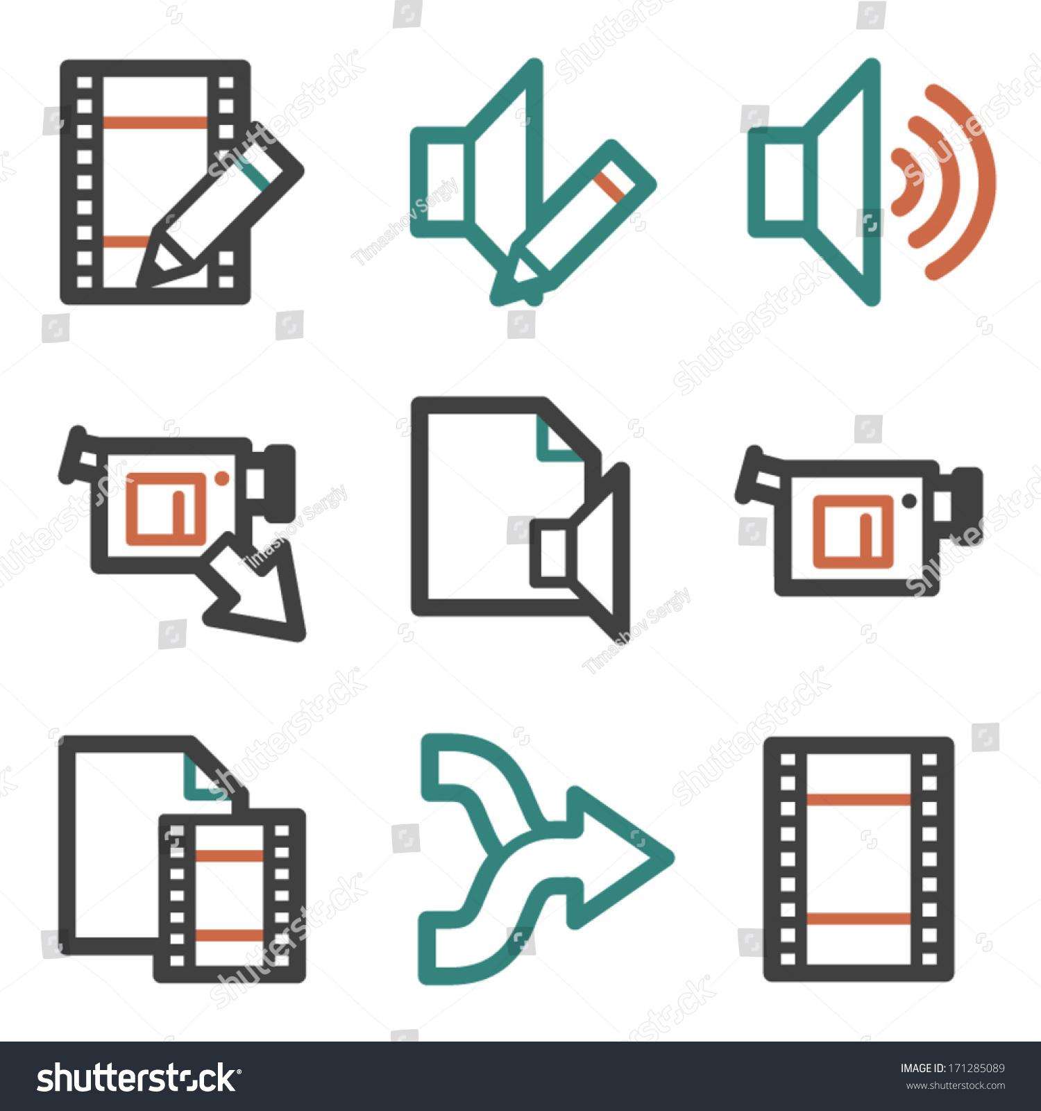 Audio video edit web icons contour stock vector 171285089 audio video edit web icons contour series ccuart Images