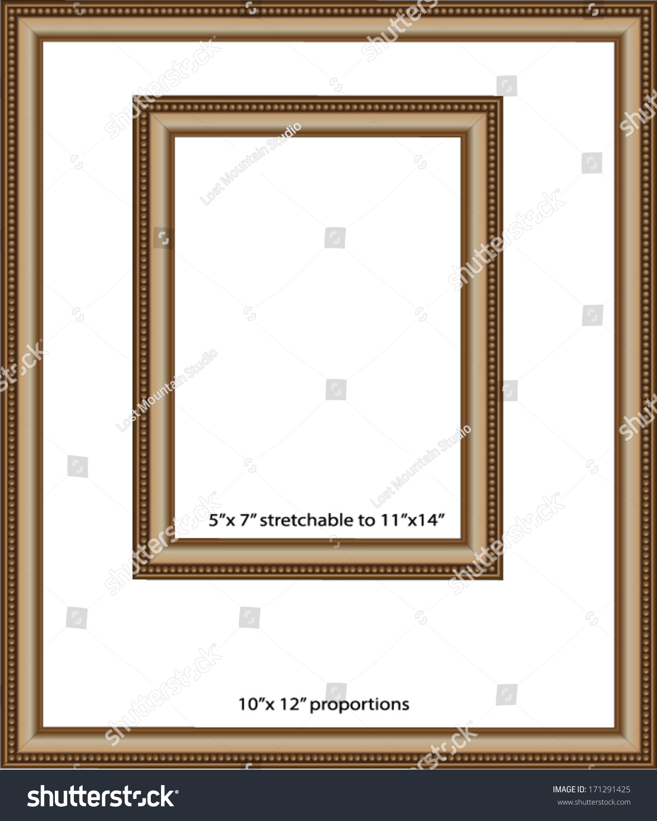 Set Simple Gold Frames Proportioned 10 X 12 Stock Vector Royalty