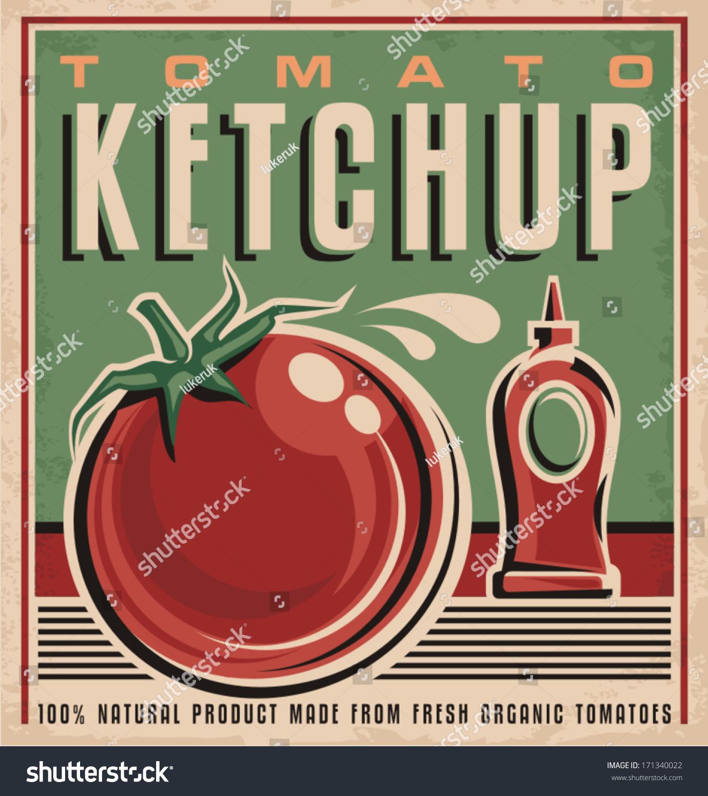 Tomato Ketchup Retro Design Concept Vintage Stock Vector Royalty