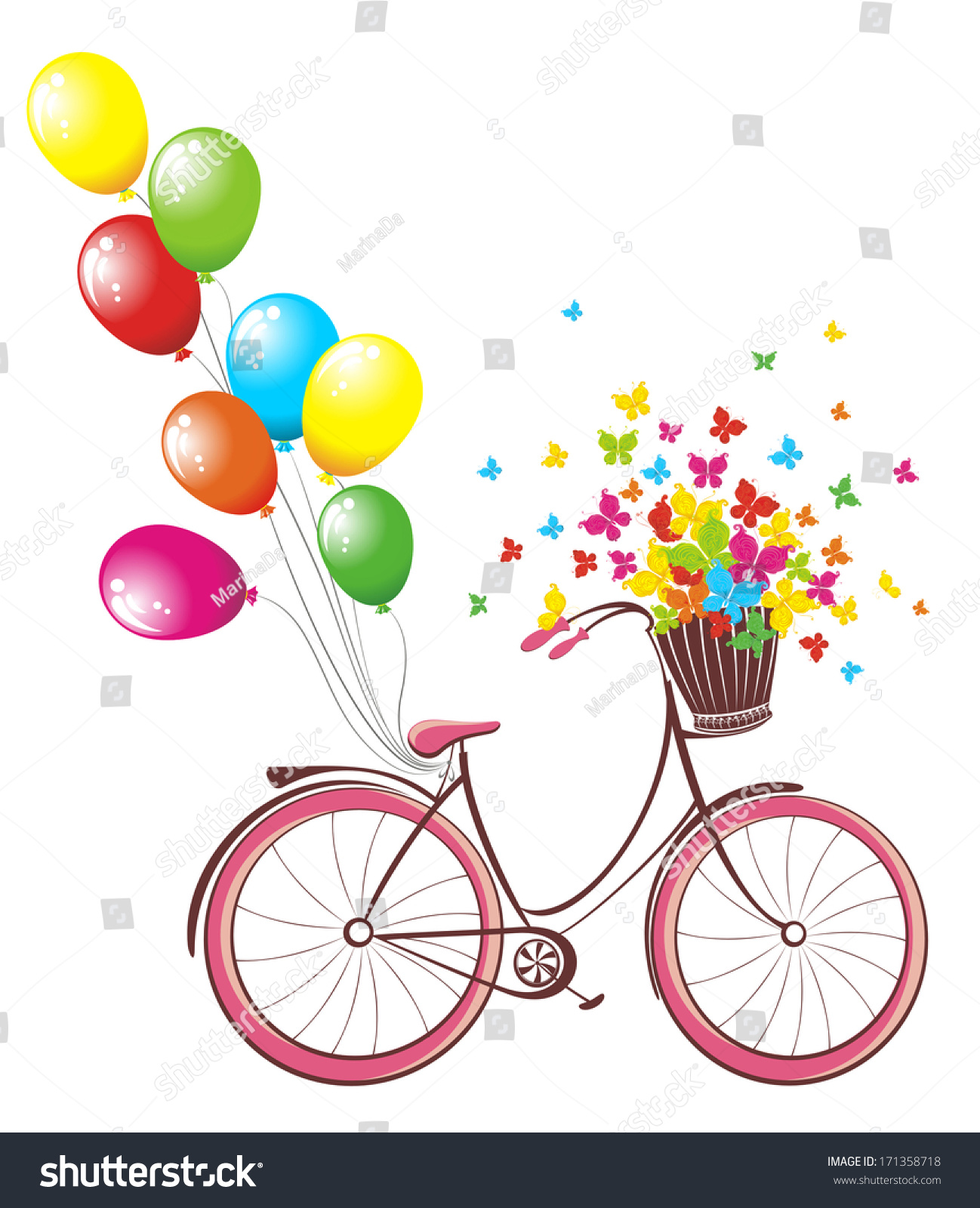 Romantic Birthday Card Bicycle Balloons Basket Vector – Romantic Birthday Card