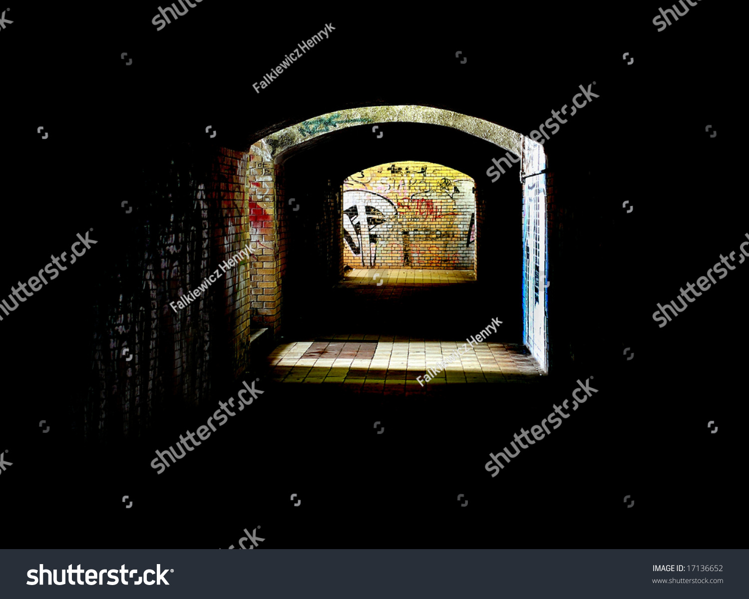the dark subway on the railway station stock photo