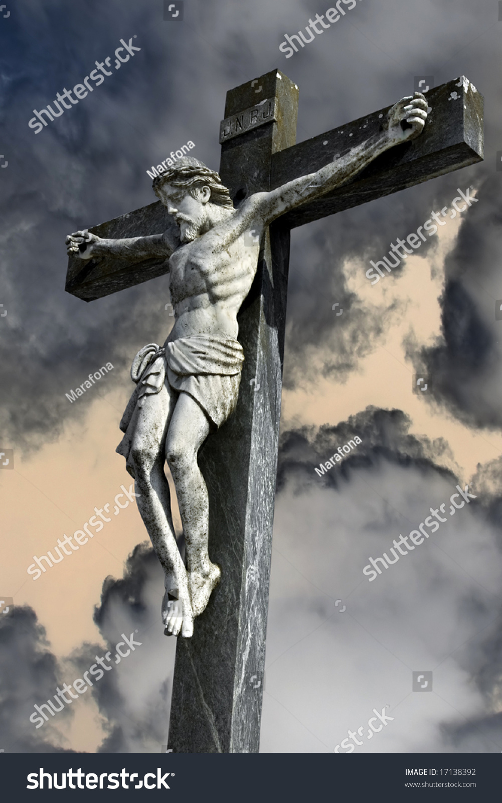 photocomposition jesus christ dying on cross stock illustration