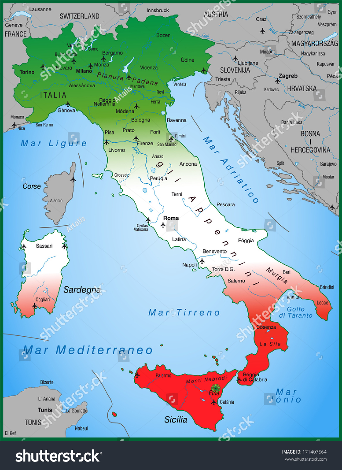 Map Italy Overview Map Stock Illustration Shutterstock - Map of ancona italy