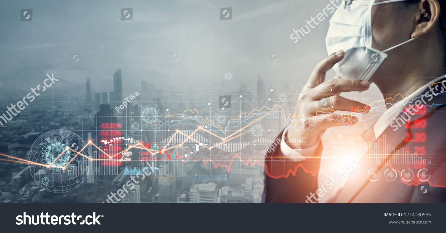 Businessman with mask, Analysis coronavirus impact on global economy and stock markets, Effects of outbreak and pandemic covid-19, Economy crisis, Stocks fall and financial crisis. #1714080535