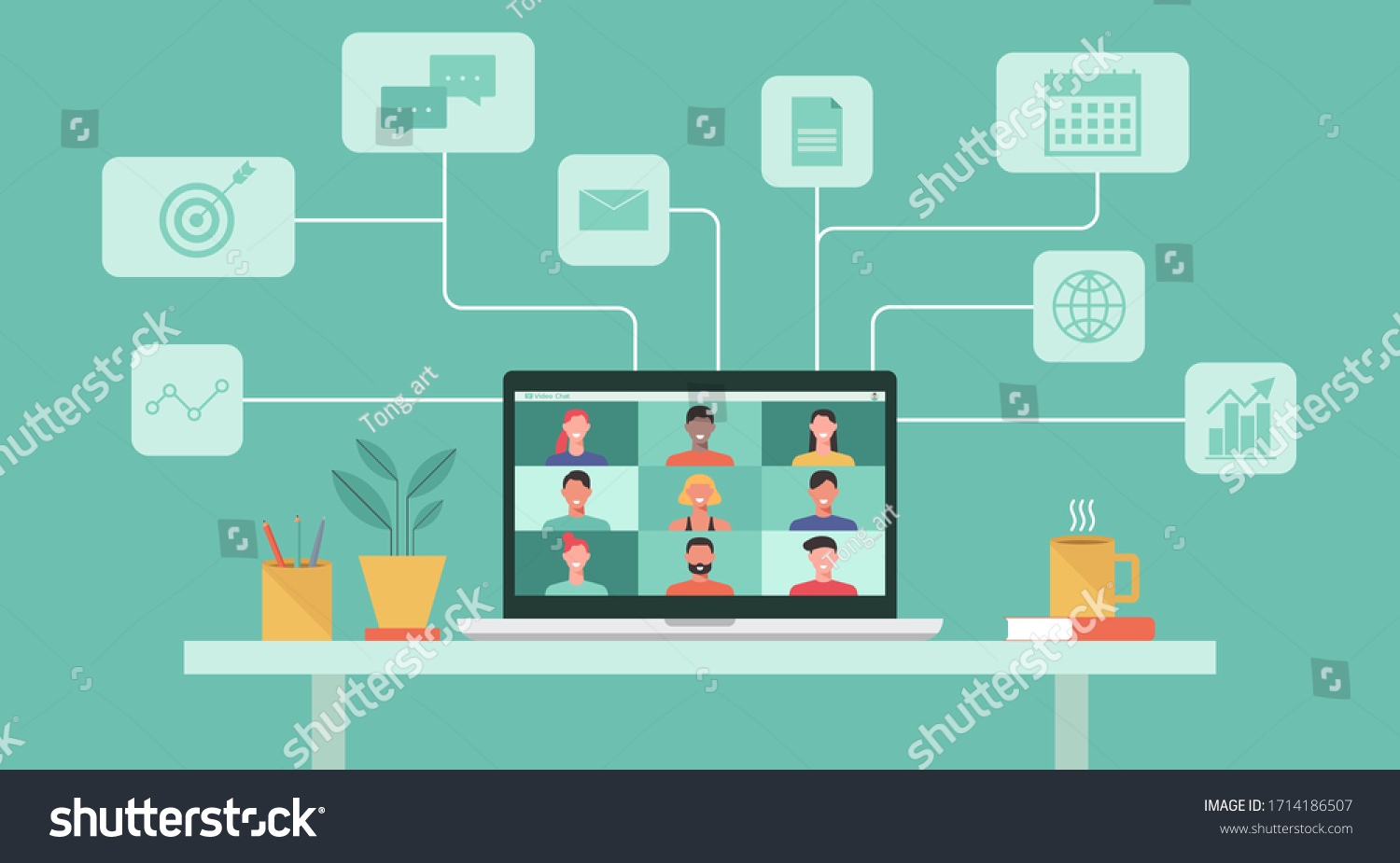 people connecting together, learning or meeting online with teleconference, video conference remote working concept, work from home and work from anywhere, flat vector illustration #1714186507