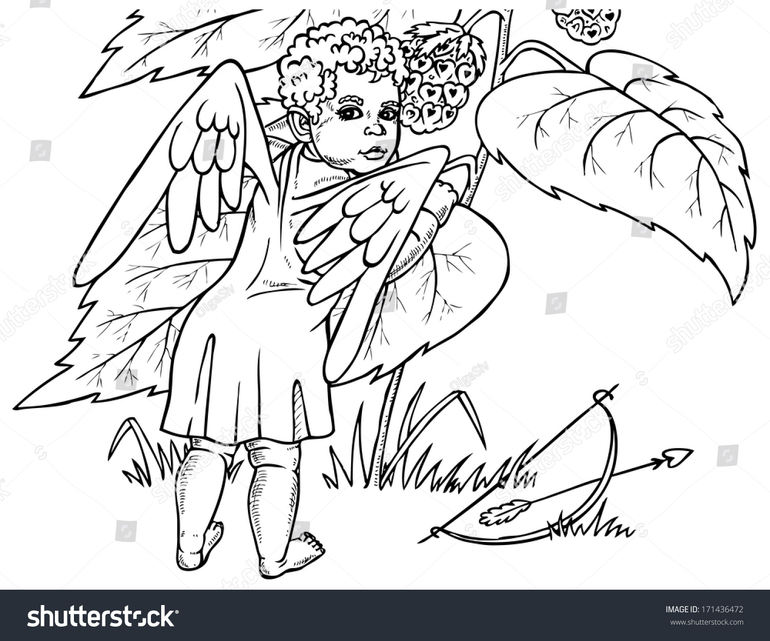 image angel who vomits berry drawing stock vector 171436472