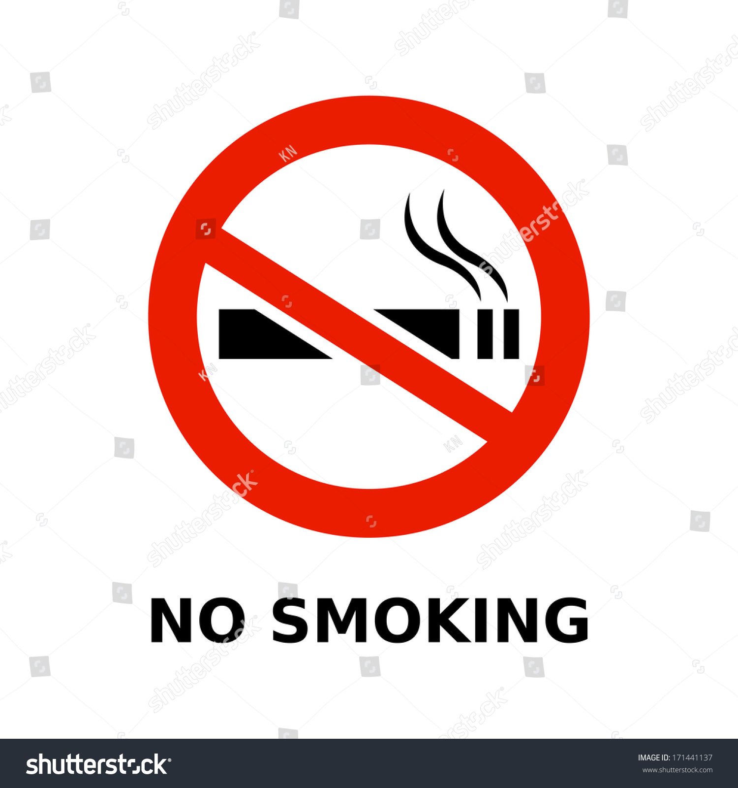 No Smoking Symbol Text On White Stock Vector Royalty Free