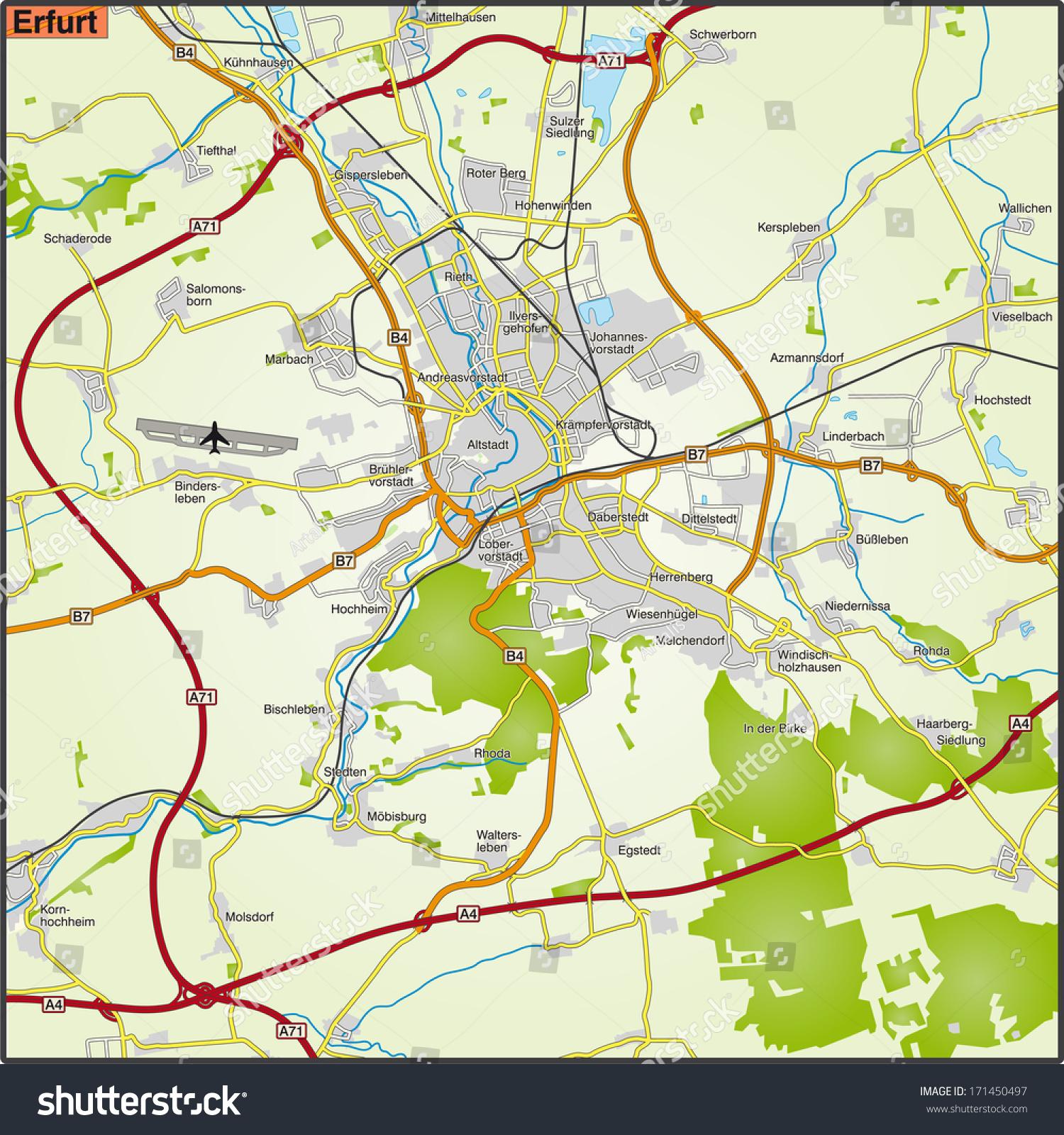 Map Erfurt Stock Illustration 171450497 Shutterstock