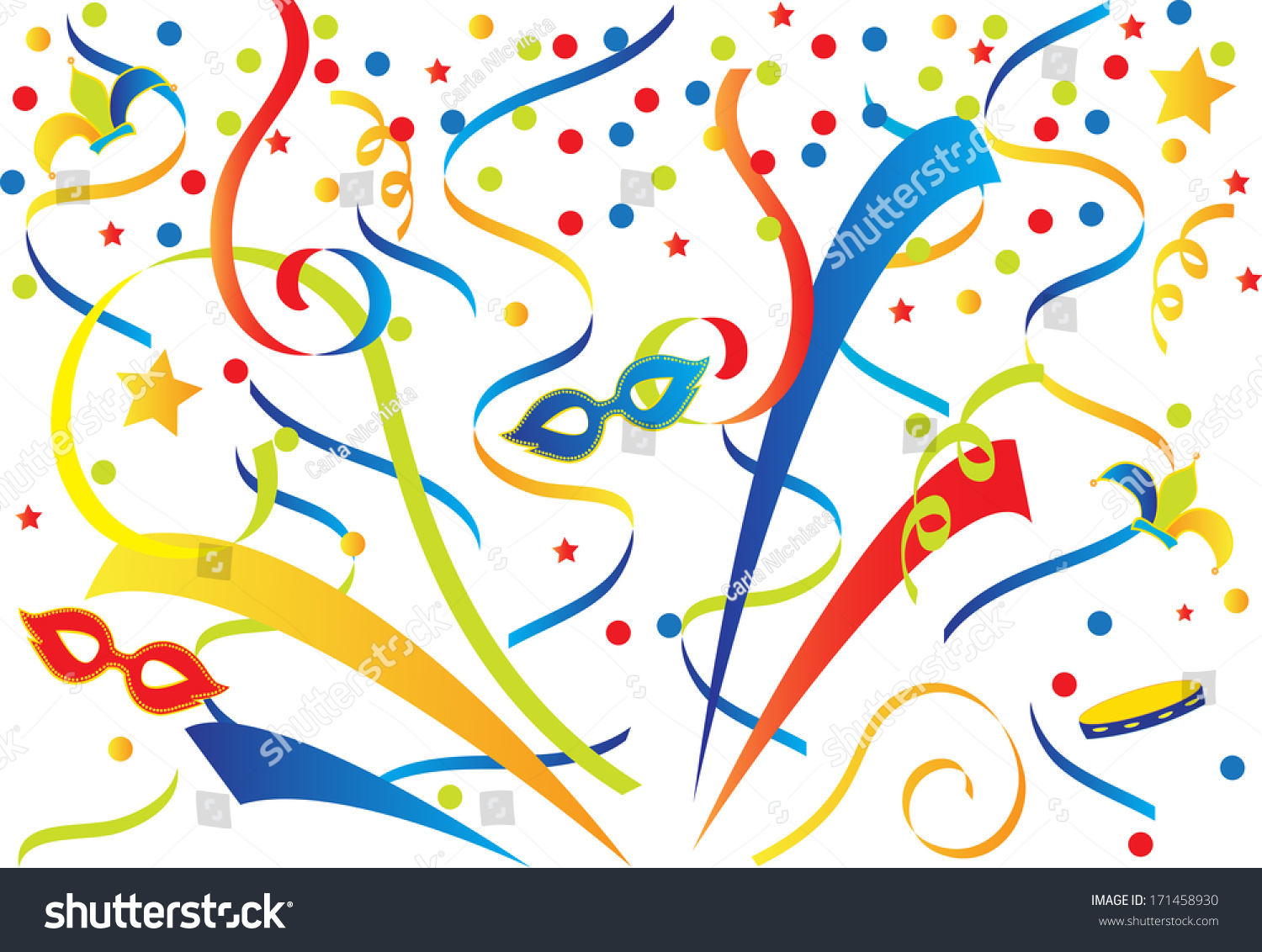 Colorful Carnival Background With Confetti And Ribbons  Vector