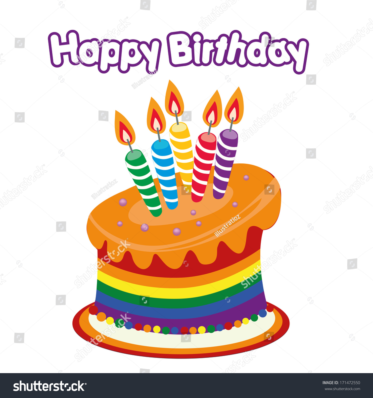 Colored Lgbt Happy Birthday Cake Some Stock Vector