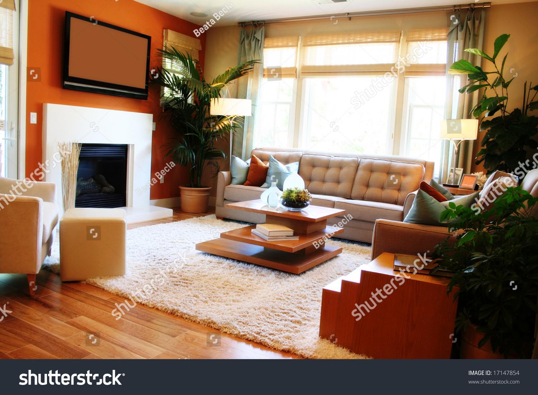 warm sunny living room fireplace tv stock photo 17147854