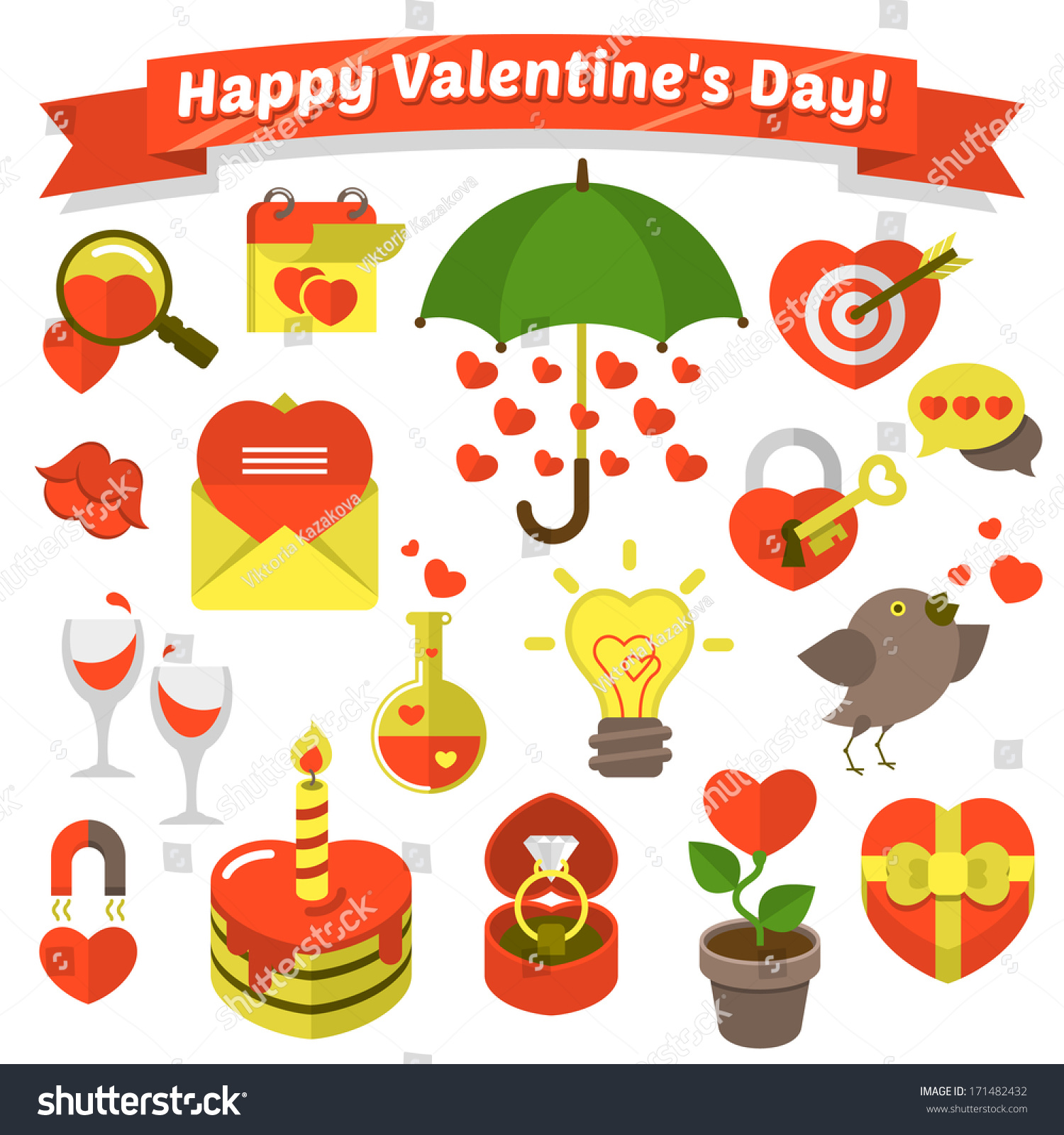 Set various flat love symbols valentines stock vector 171482432 set of various flat love symbols for valentines day with greeting label buycottarizona Gallery