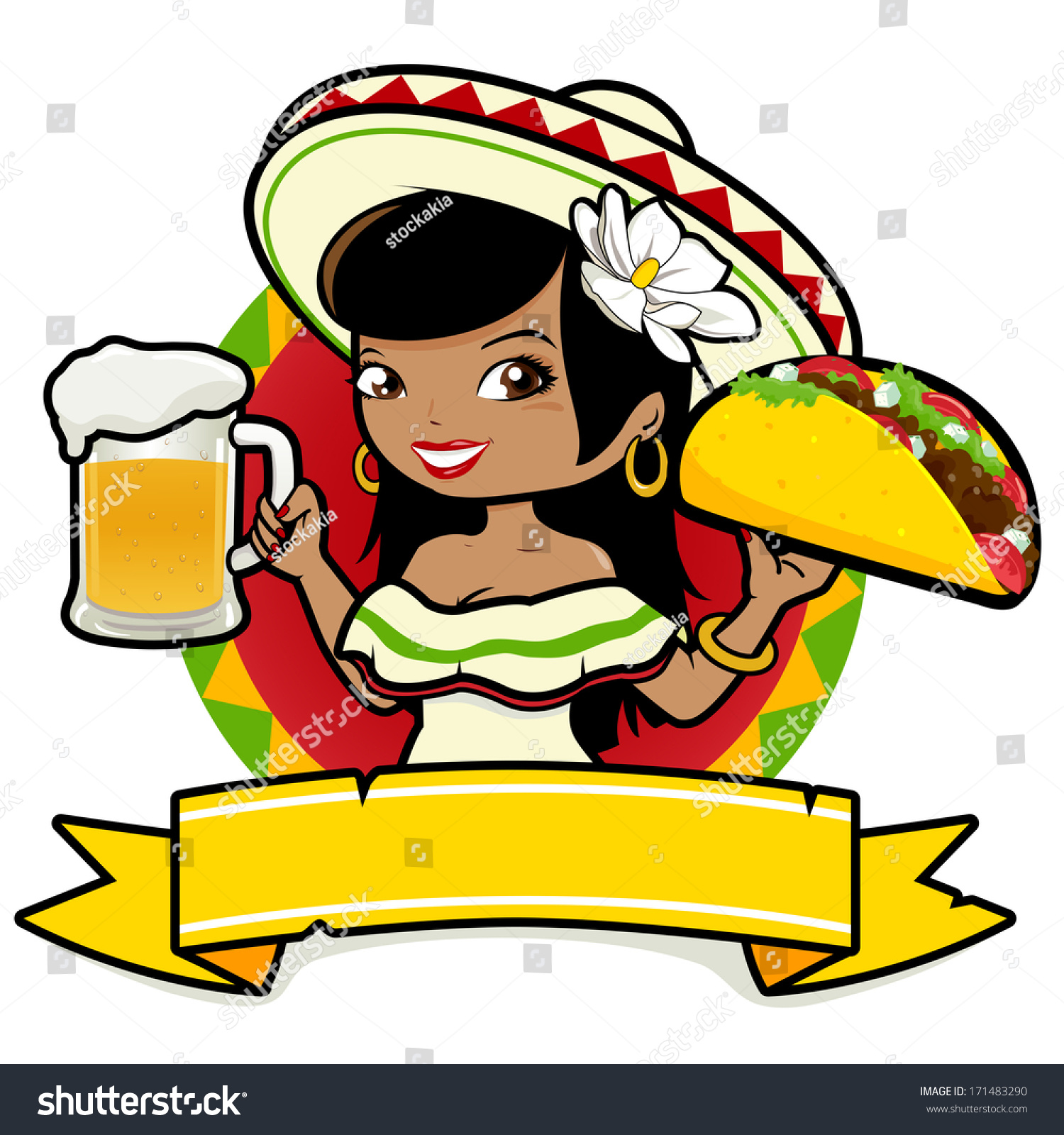 mexican woman holding cold beer taco stock vector free clipart mexican food free clipart mexican food