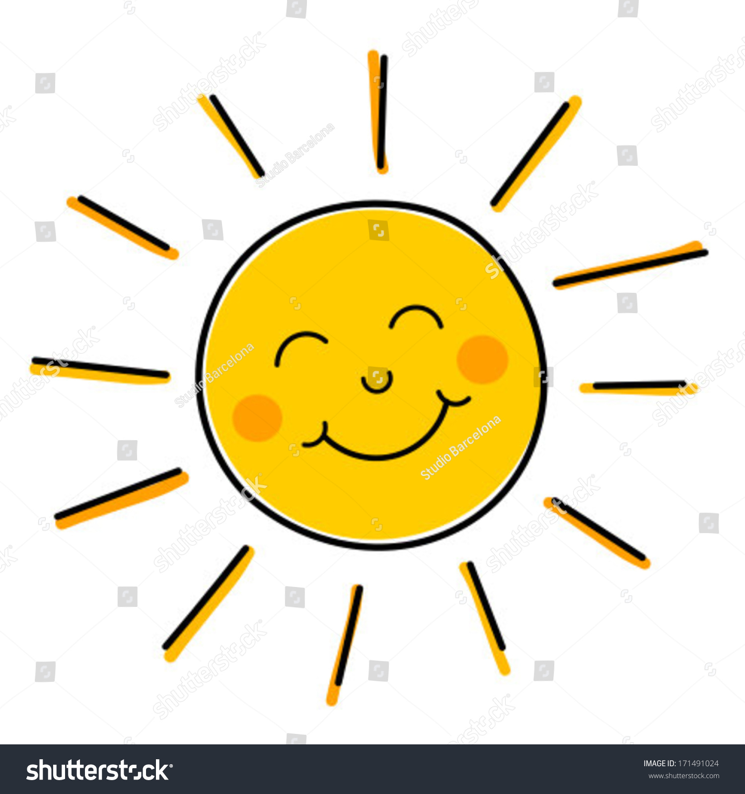 Smiling sun images - Drawing Of Happy Smiling Sun Vector Illustration