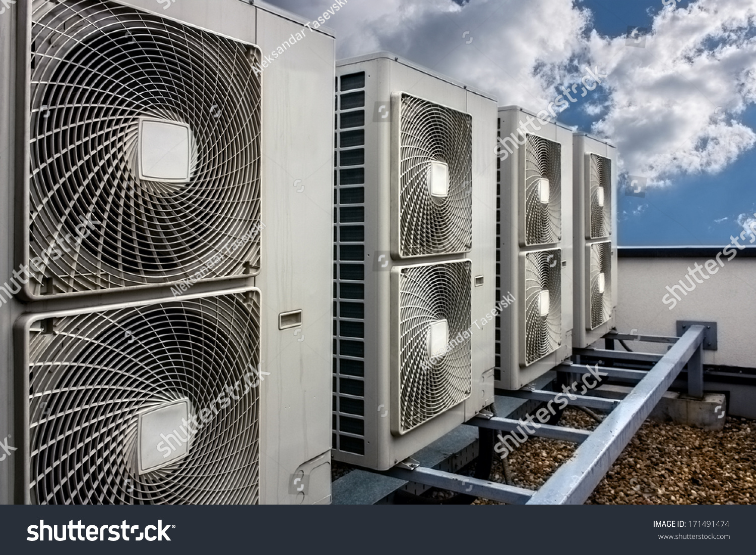 Air Conditioning System Assembled On Side Of A Building. Stock Photo  #446487