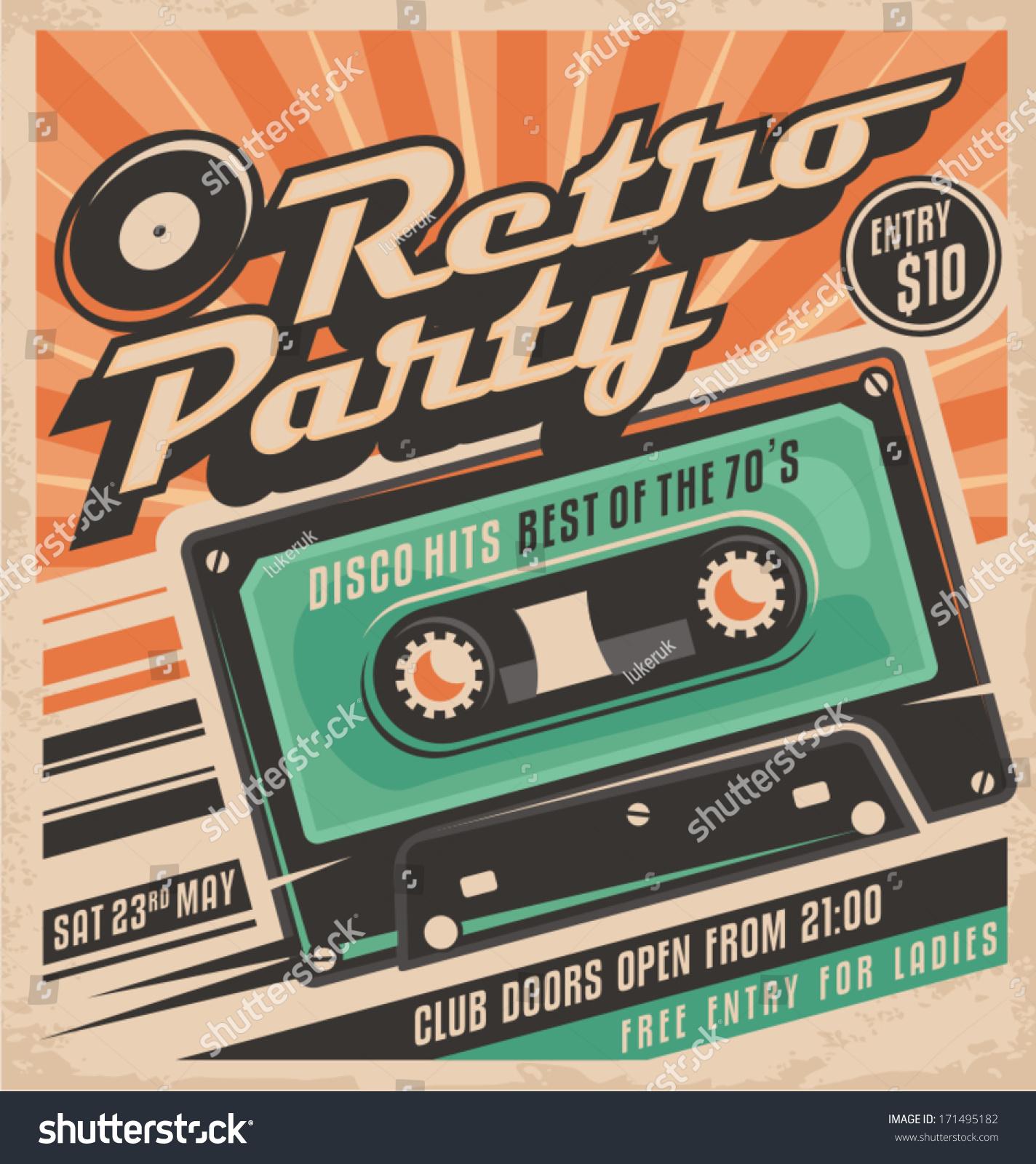70s poster design - Retro Party Poster Design Disco Music Event At Night Club Vintage Invitation Template