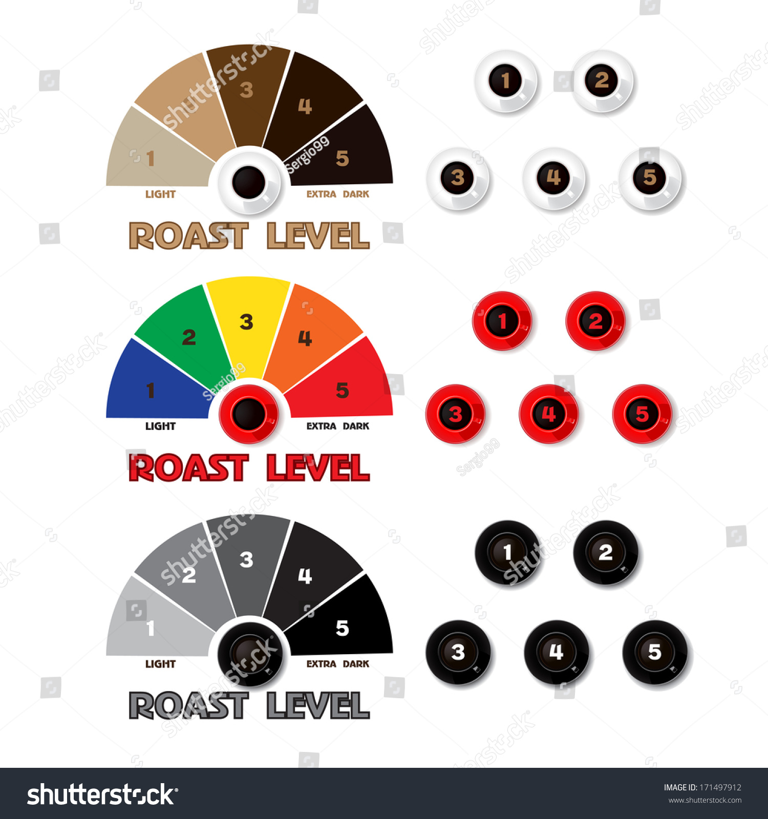 Collection Of Styled Coffee Labels Color Gray Roast Level Vector
