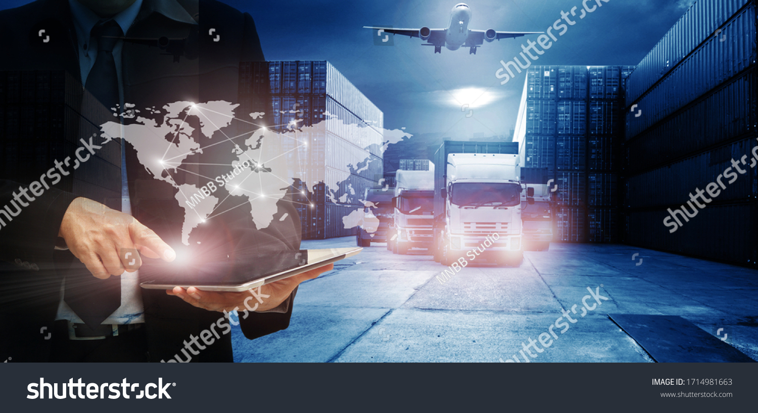 Double exposure of man with world map for logistic network distribution on background and Logistics Industrial Container Cargo freight ship for shipping and Transportation, import-export  #1714981663