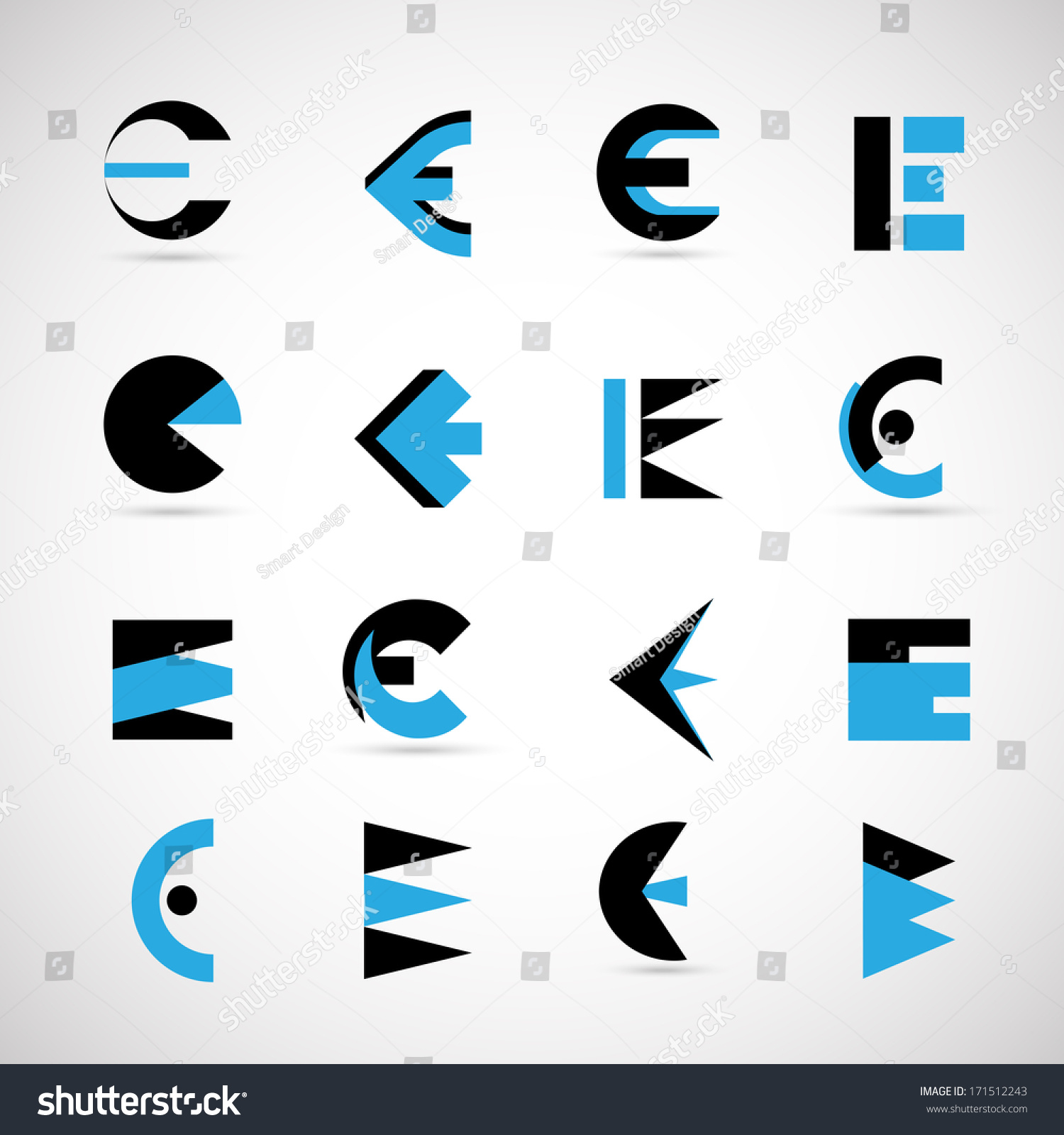 Unusual Letters Set Isolated On Gray Stock Vector