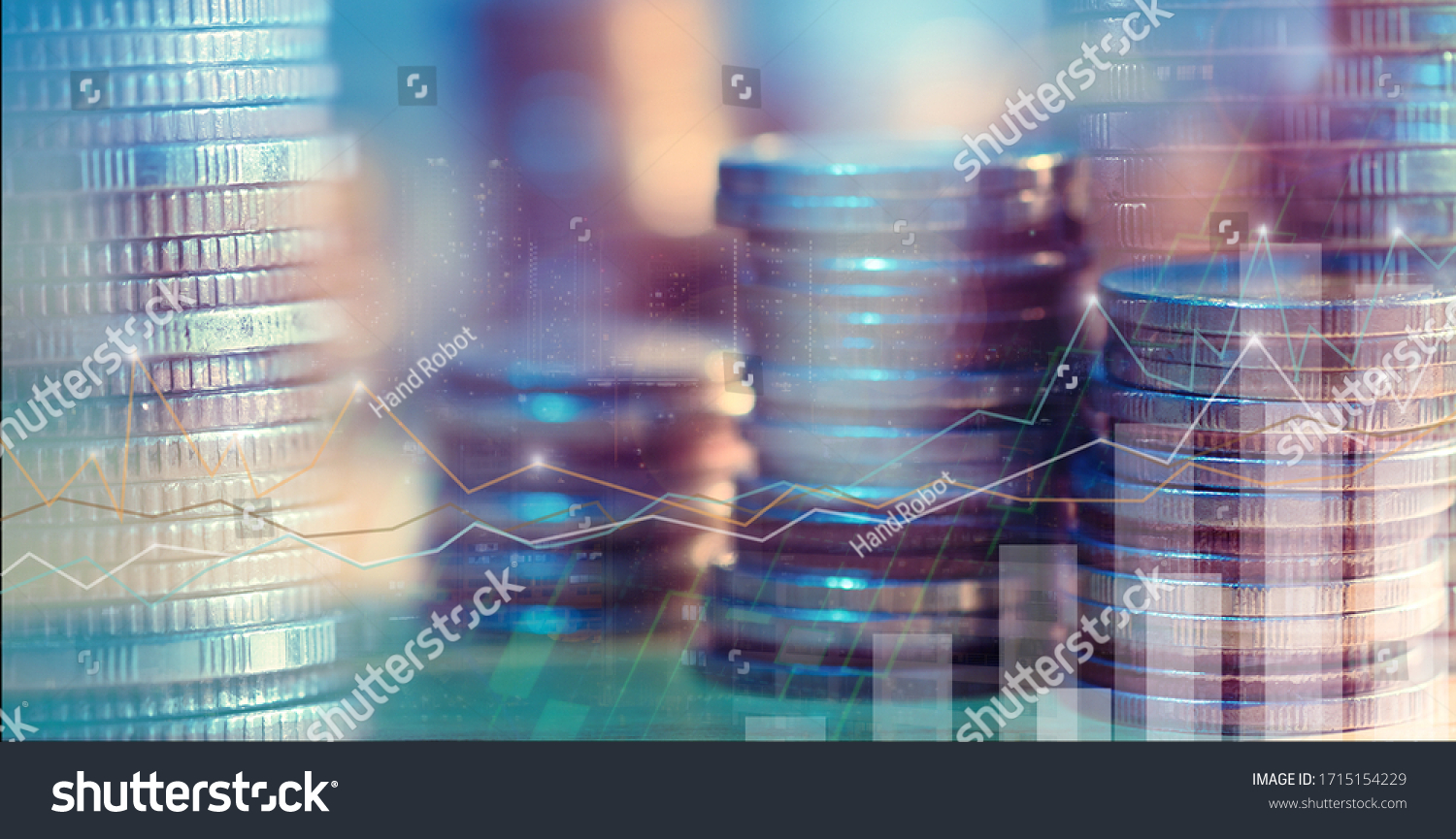 Financial investment concept, Double exposure of city night and stack of coins for finance investor, Forex trading candlestick chart, Cryptocurrency Digital economy. background for invest #1715154229