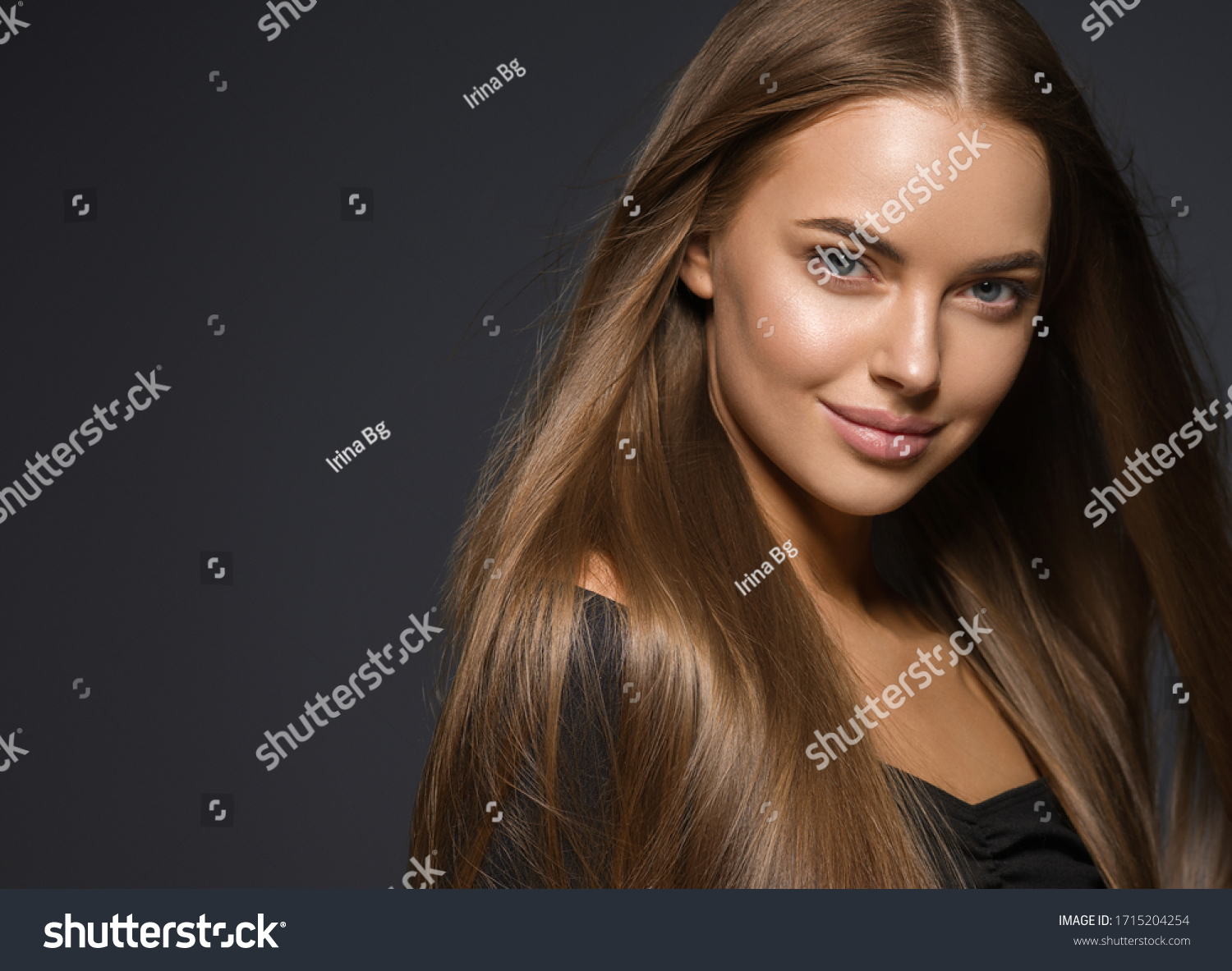 Smooth hair beauty woman smile face natural make up female healthy skin and hair glamour beauty over dark background #1715204254