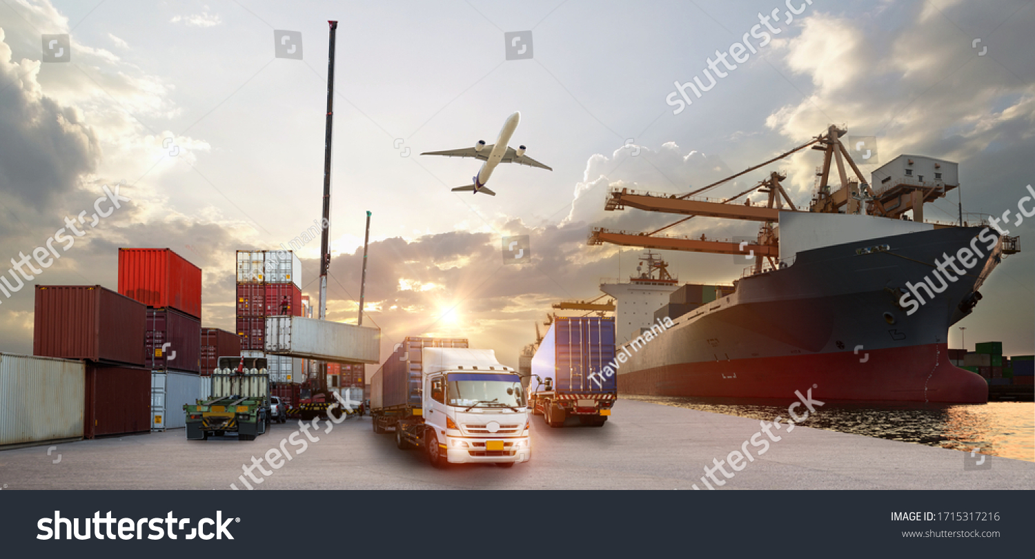 Container truck in ship port for business Logistics and transportation of Container Cargo ship and Cargo plane with working crane bridge in shipyard at sunrise, logistic import export and transport  #1715317216