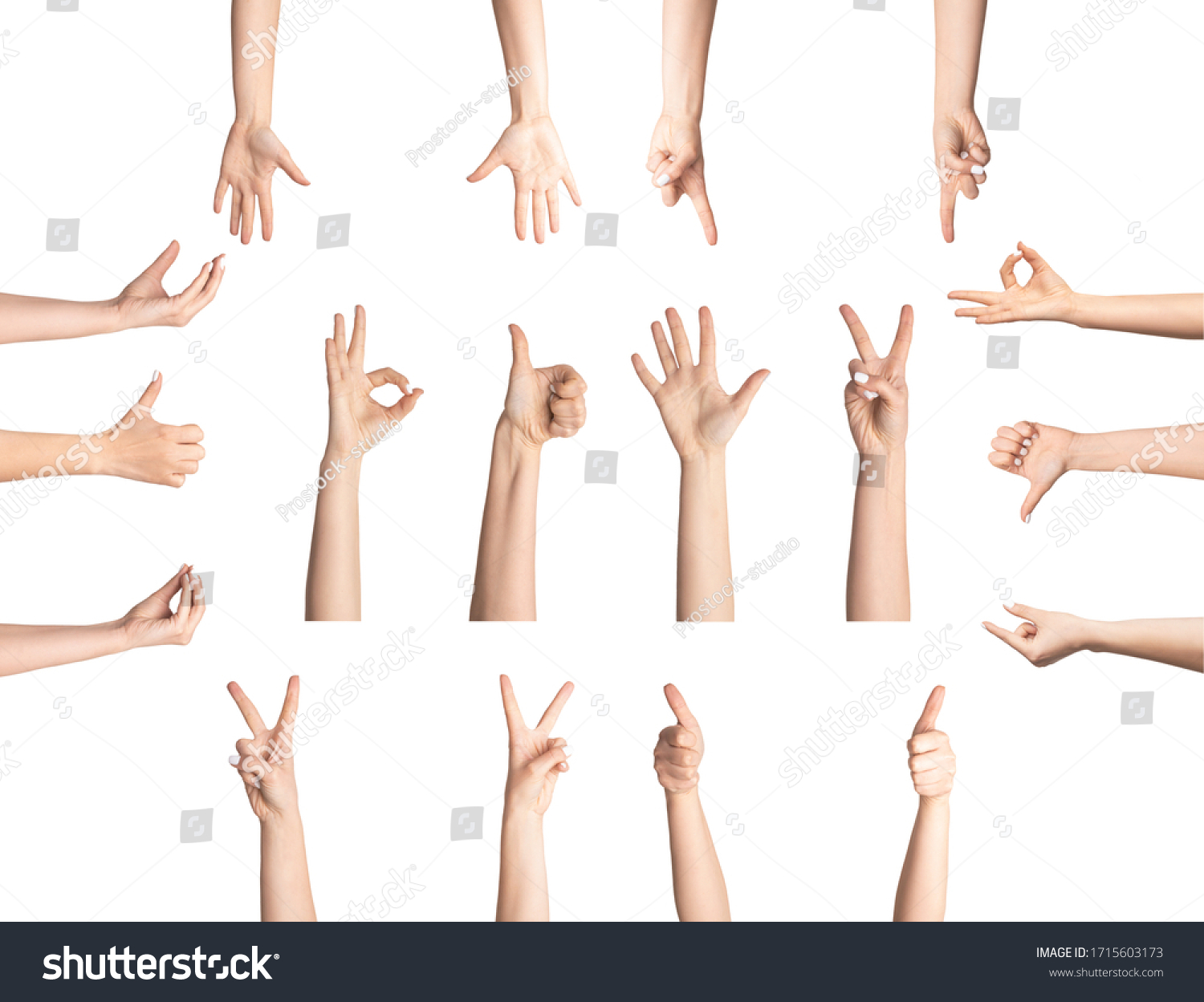 Sign language concept. Collage with female hands showing different gestures on white background, isolated #1715603173