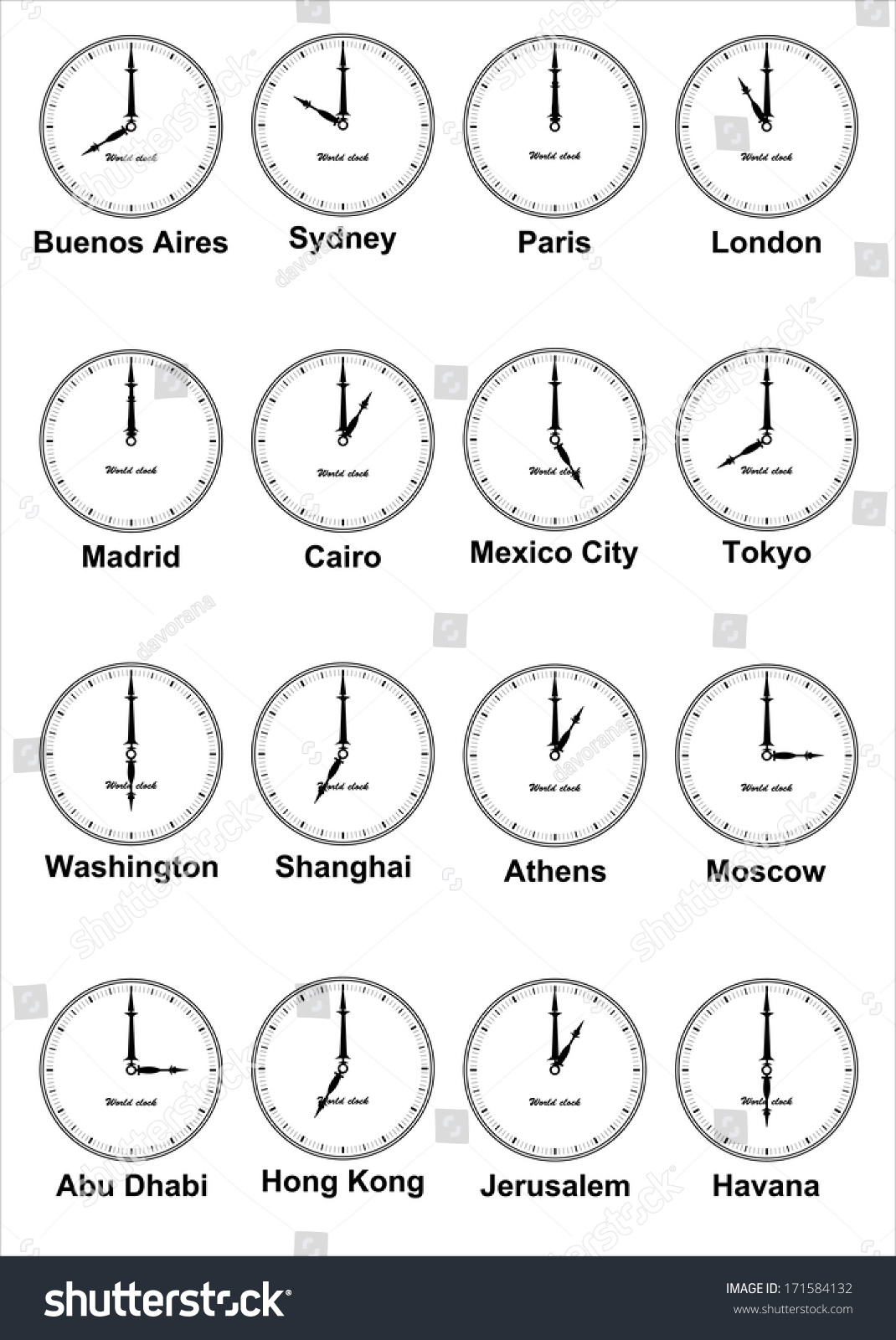 World Clock Time Difference Major Cities Stock Vector - Mexico time difference