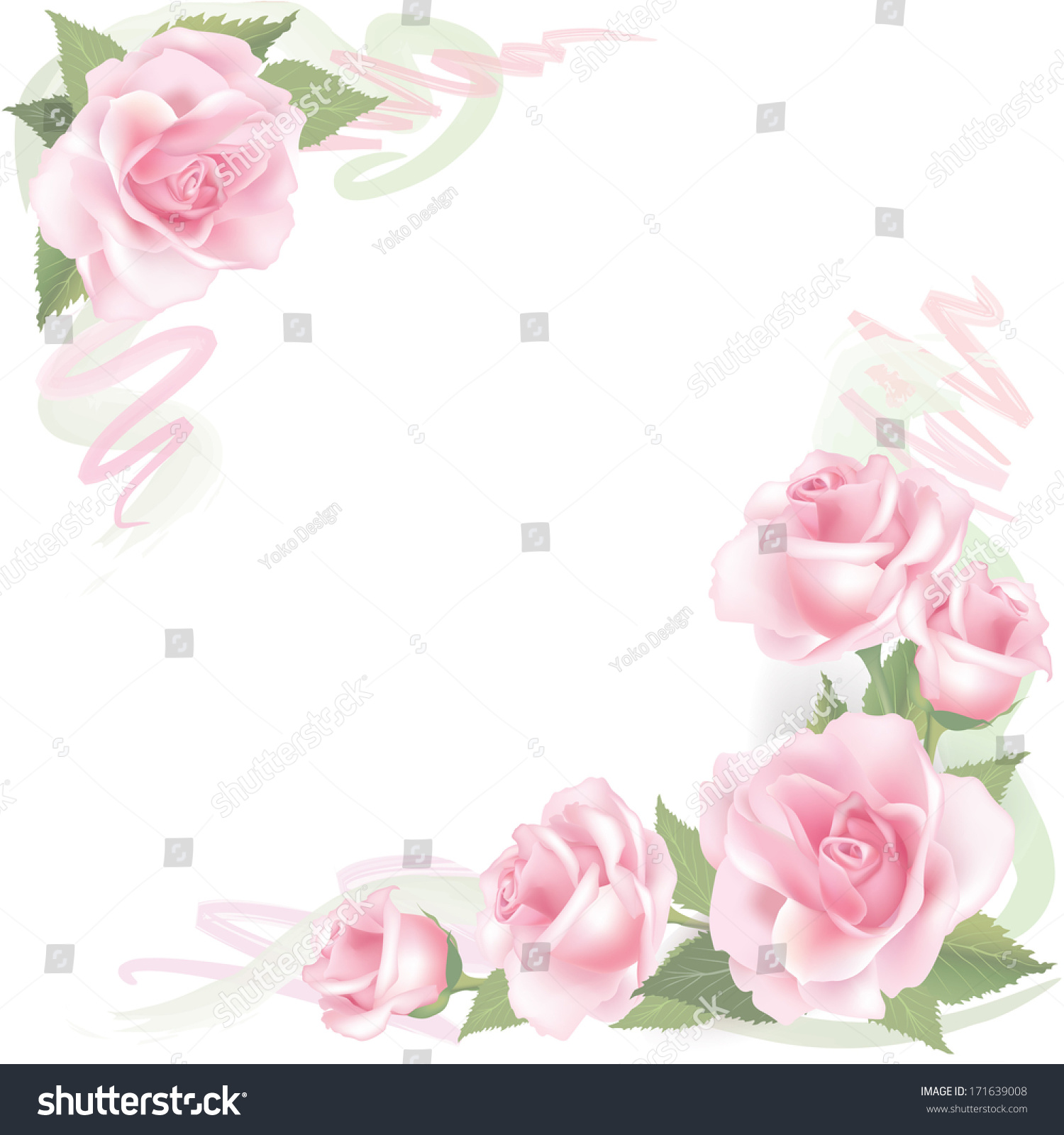 Flower rose background floral frame pink stock vector for Cadre floral mural