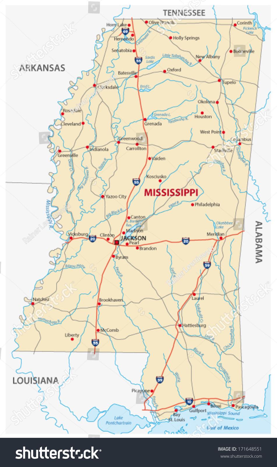 Mississippi Road Map Staten Island Map - Mississippi highway map