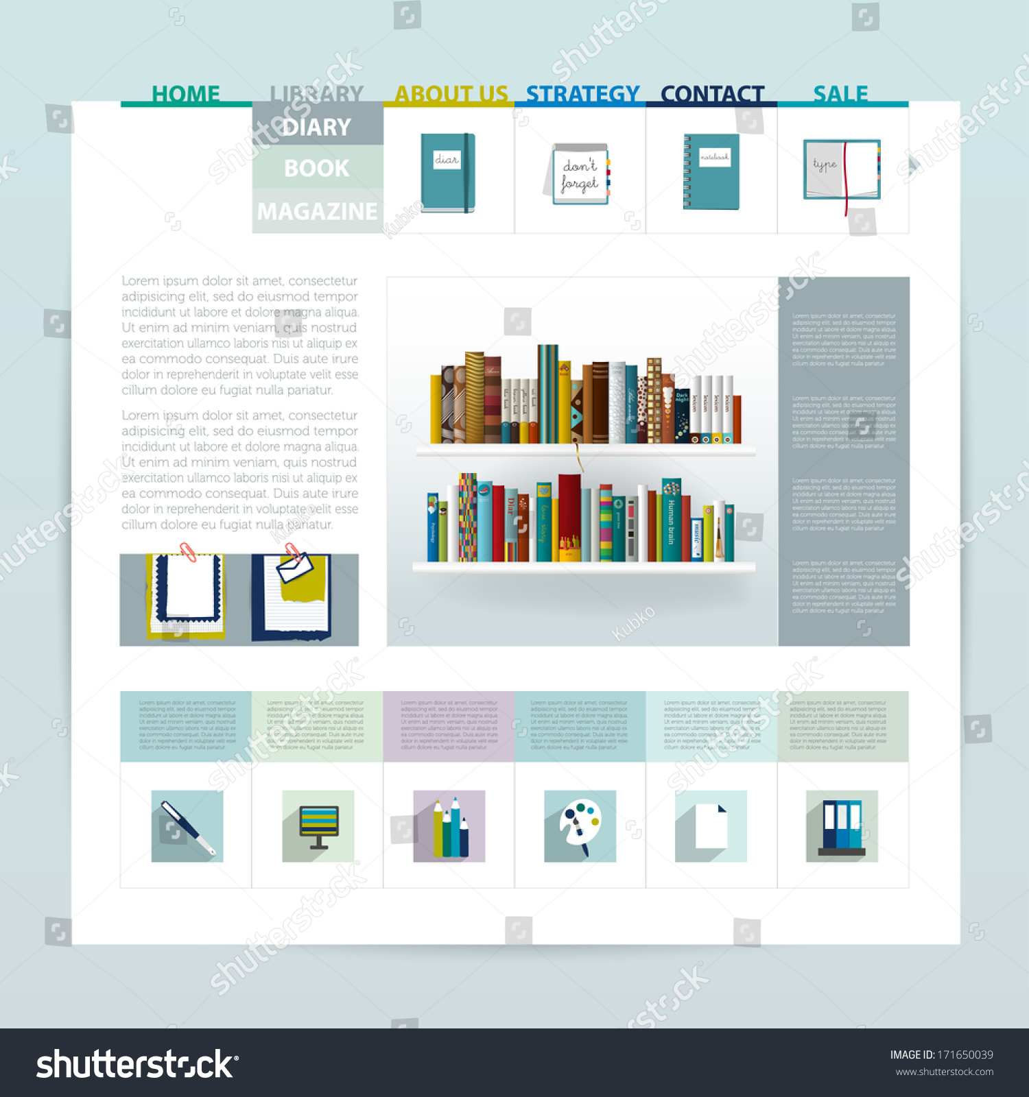 Website Template Design Blog Sample Page Stock Vector (Royalty Free ...