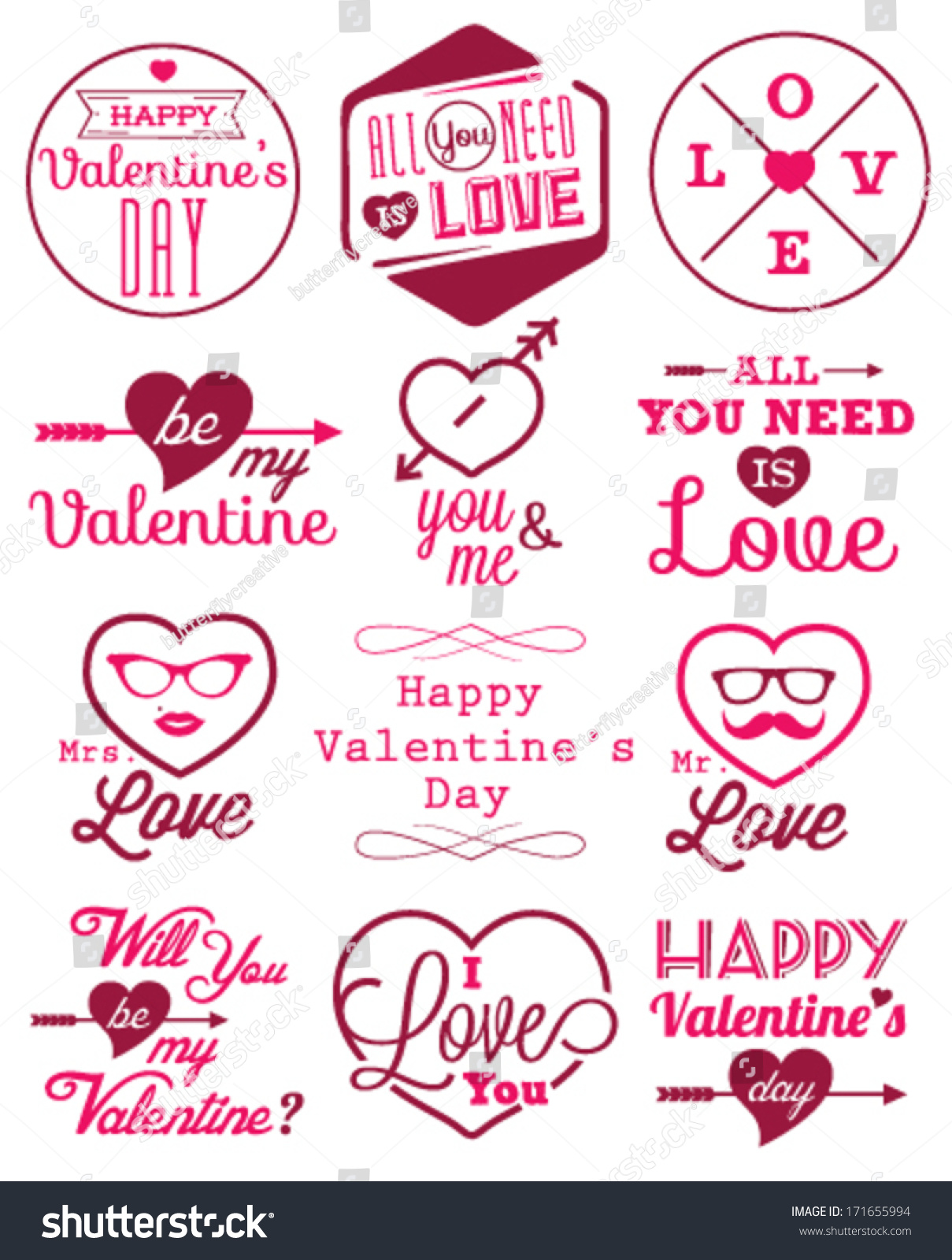 happy valentines day vector badges labels stock vector royalty free