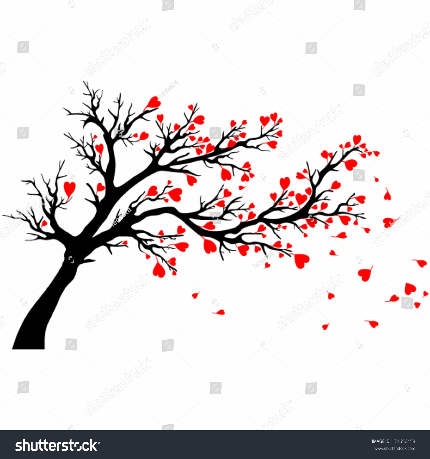 Valentine Day Tree Vector Tree Heart Stock Vector 171656459