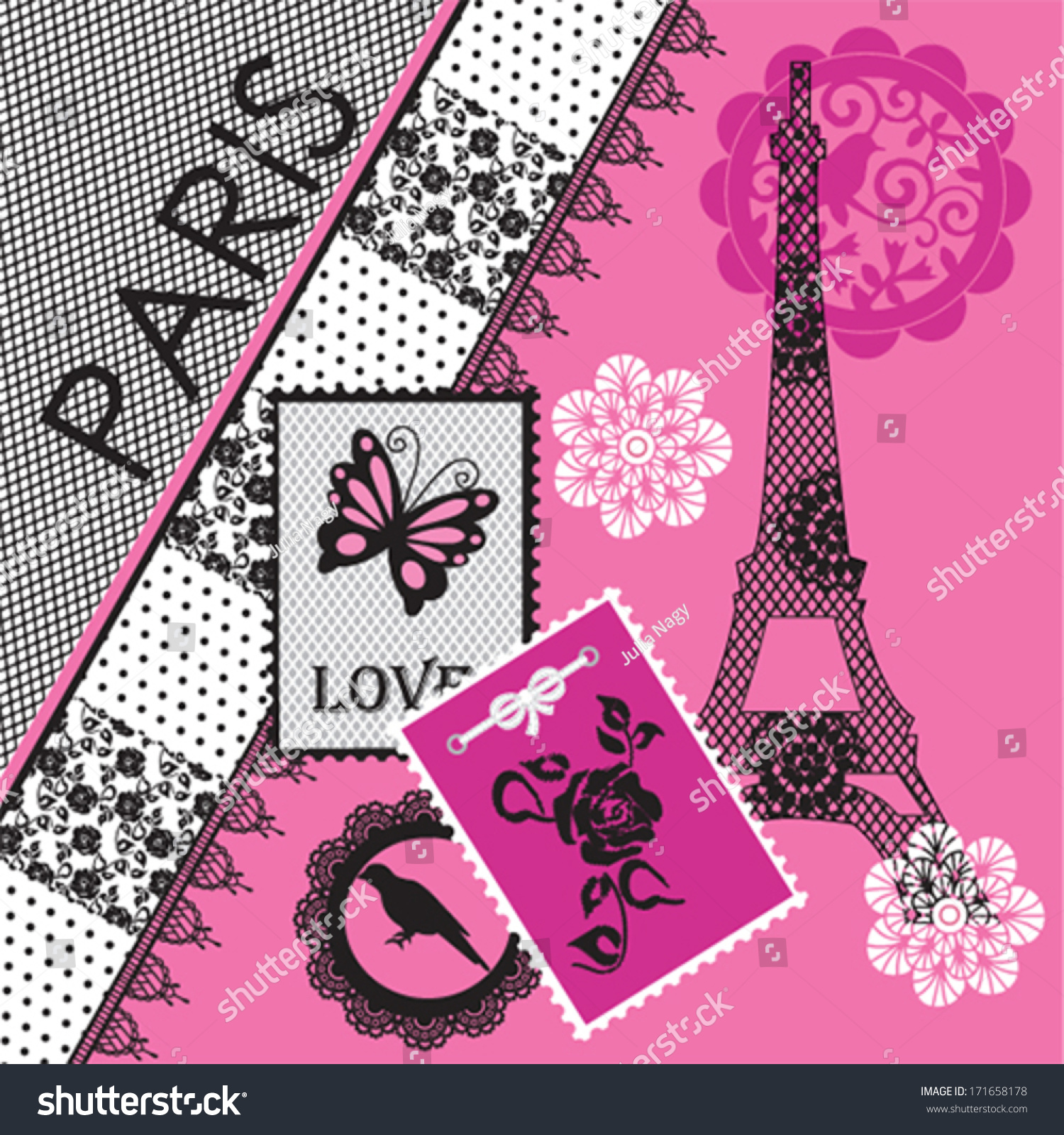 Paris Eiffel Tower Invitation Card Background Stock Vector ...