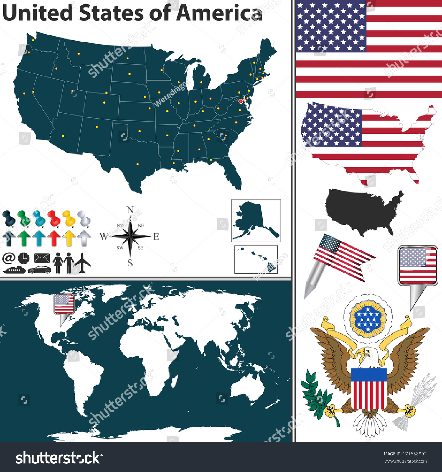Vector Map Of United States Of America With Regions Coat Of Arms And Location On