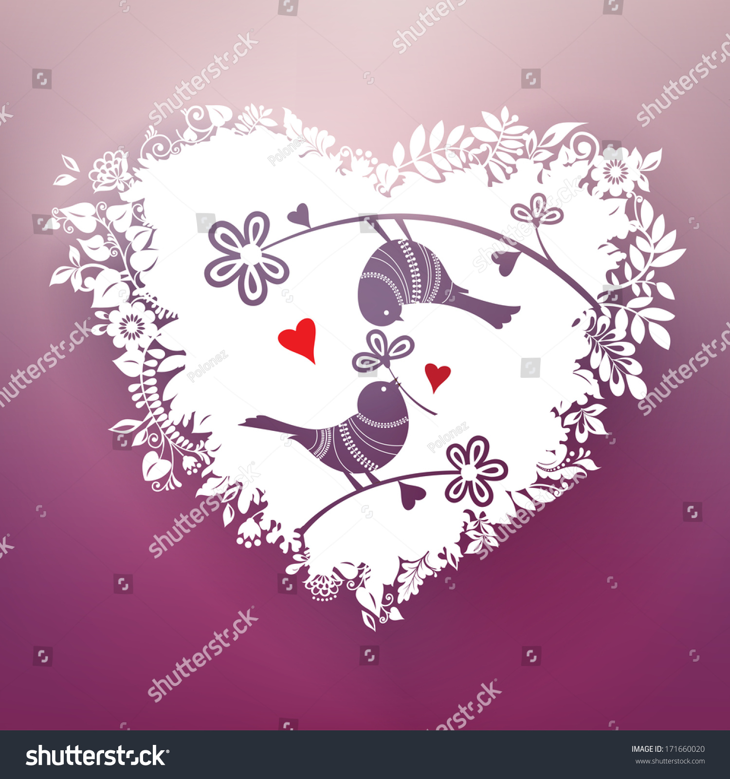two love birds part beautiful floral stock illustration 171660020