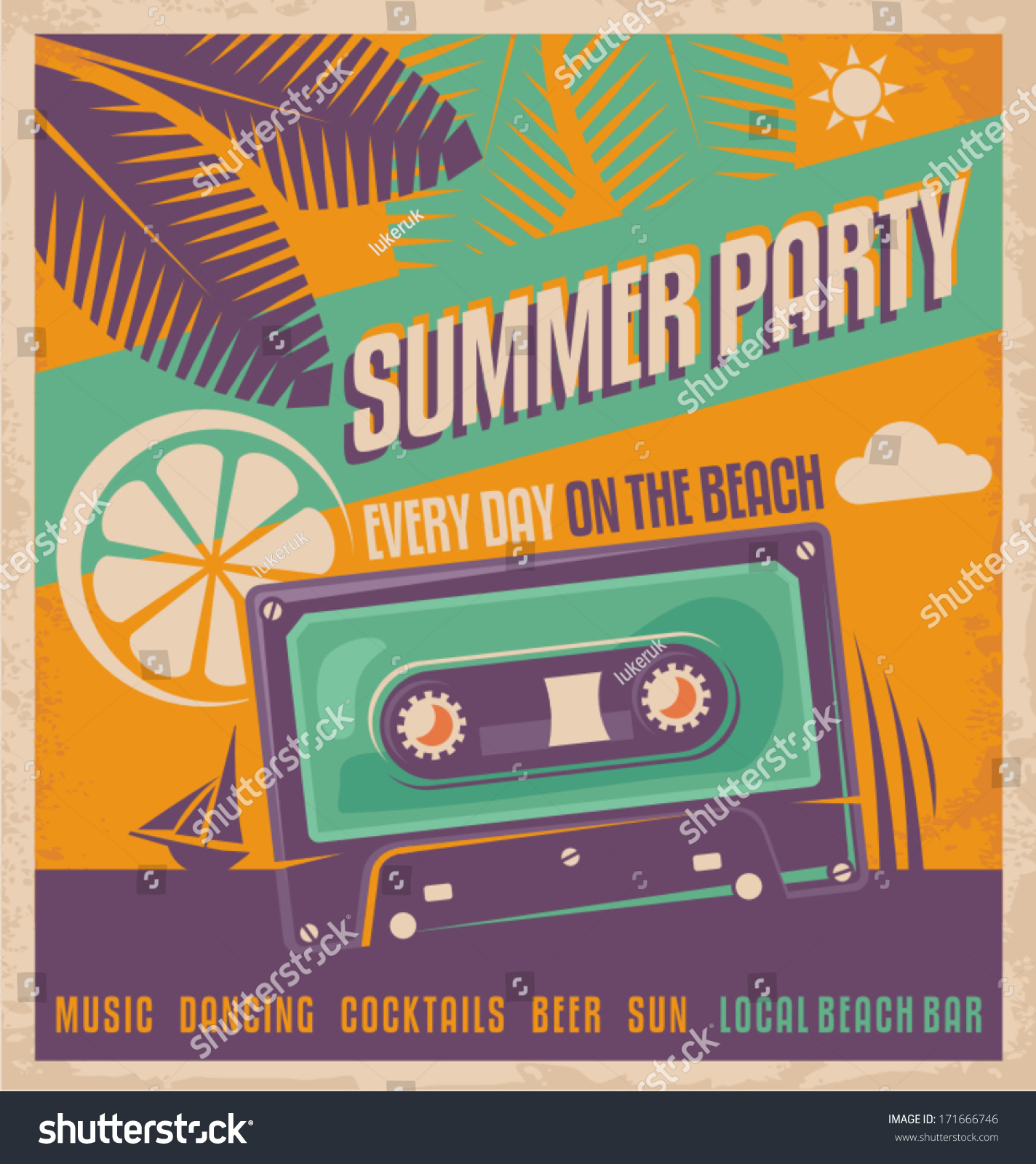 summer party retro poster vector design stock vector  summer party retro poster vector design beach dancing vintage flyer or ad template