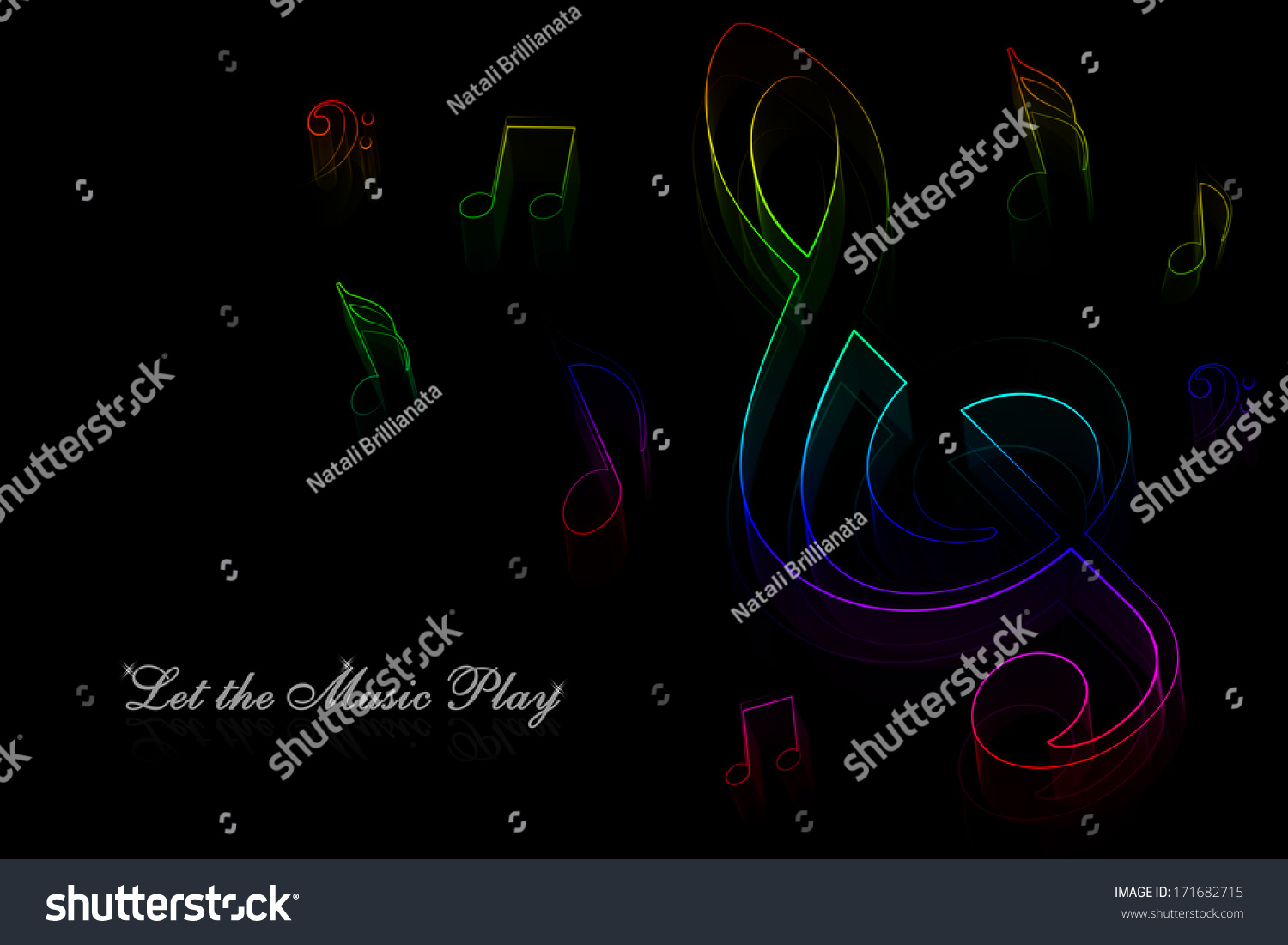 Neon Music Notes Background: Neon Music Notes On A Black Background Stock Photo